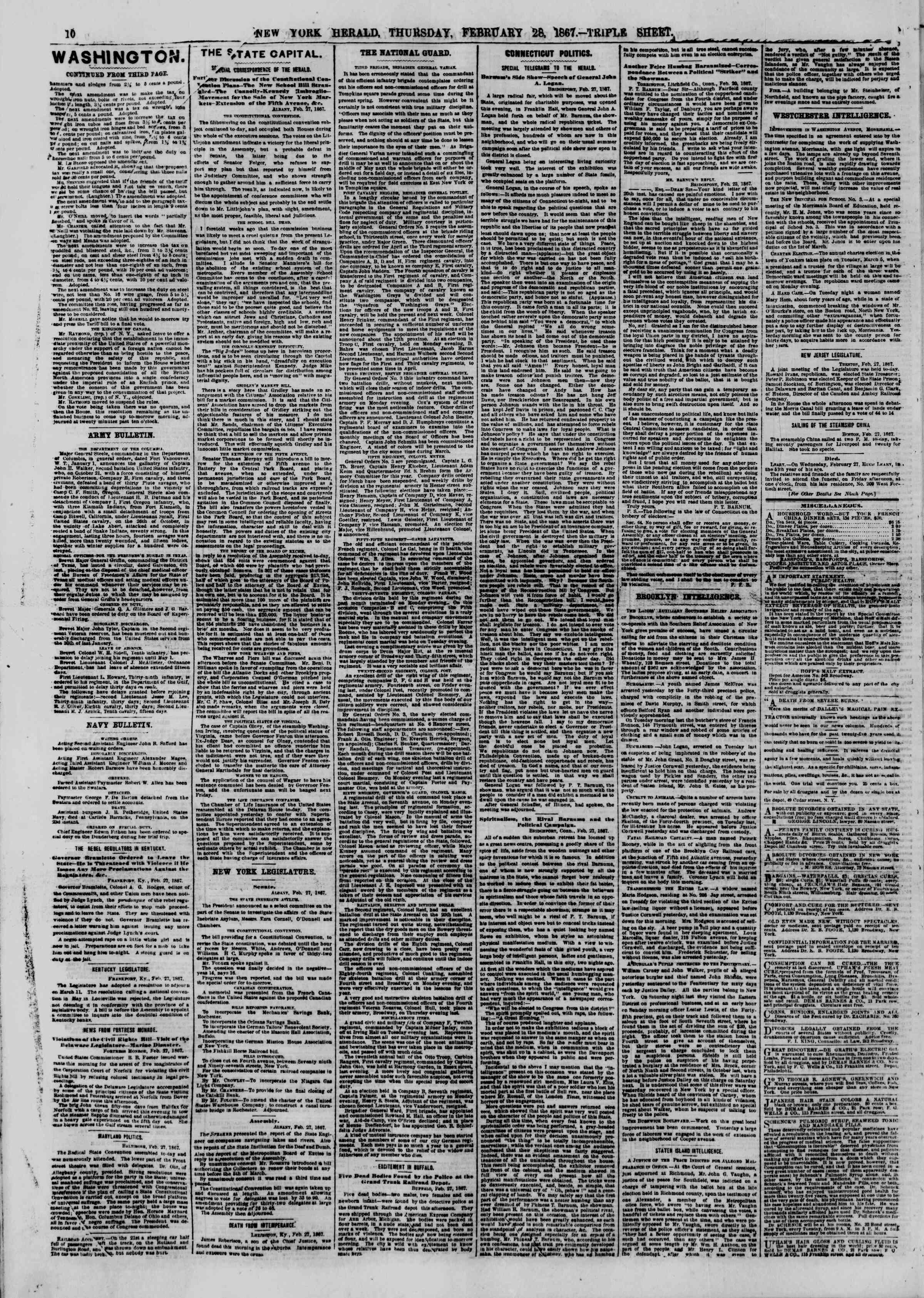 Newspaper of The New York Herald dated February 28, 1867 Page 10