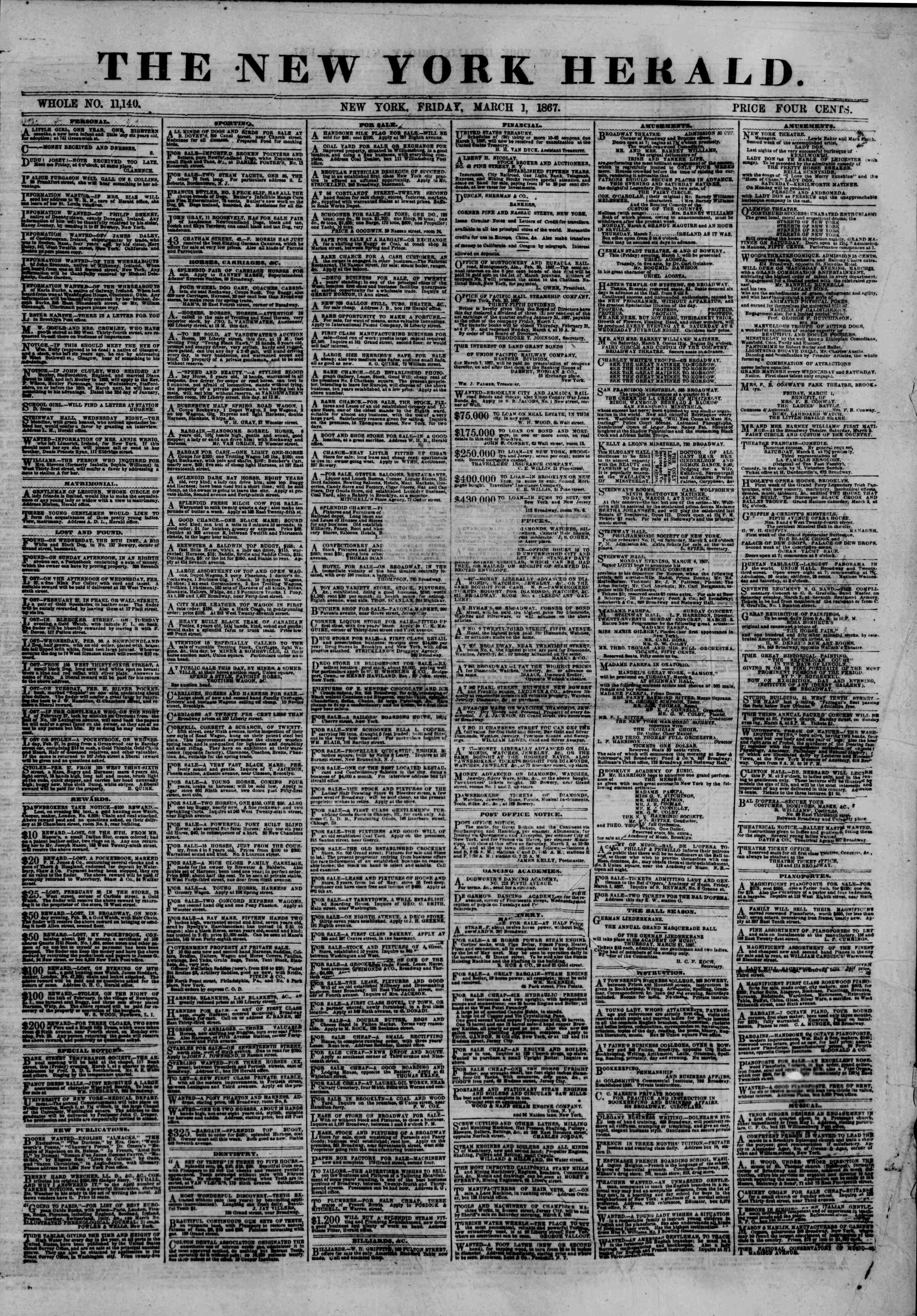 Newspaper of The New York Herald dated March 1, 1867 Page 1