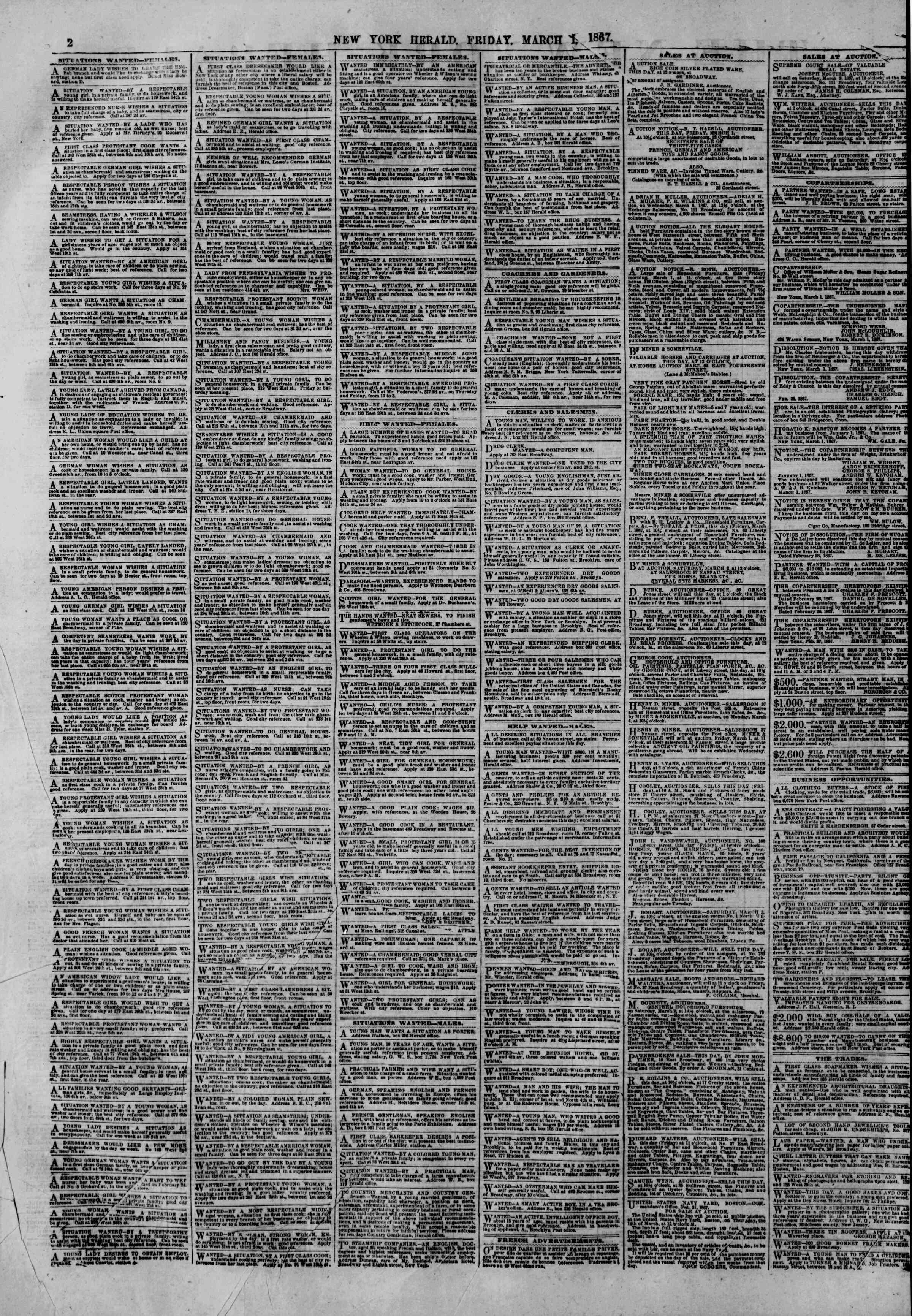 Newspaper of The New York Herald dated March 1, 1867 Page 2
