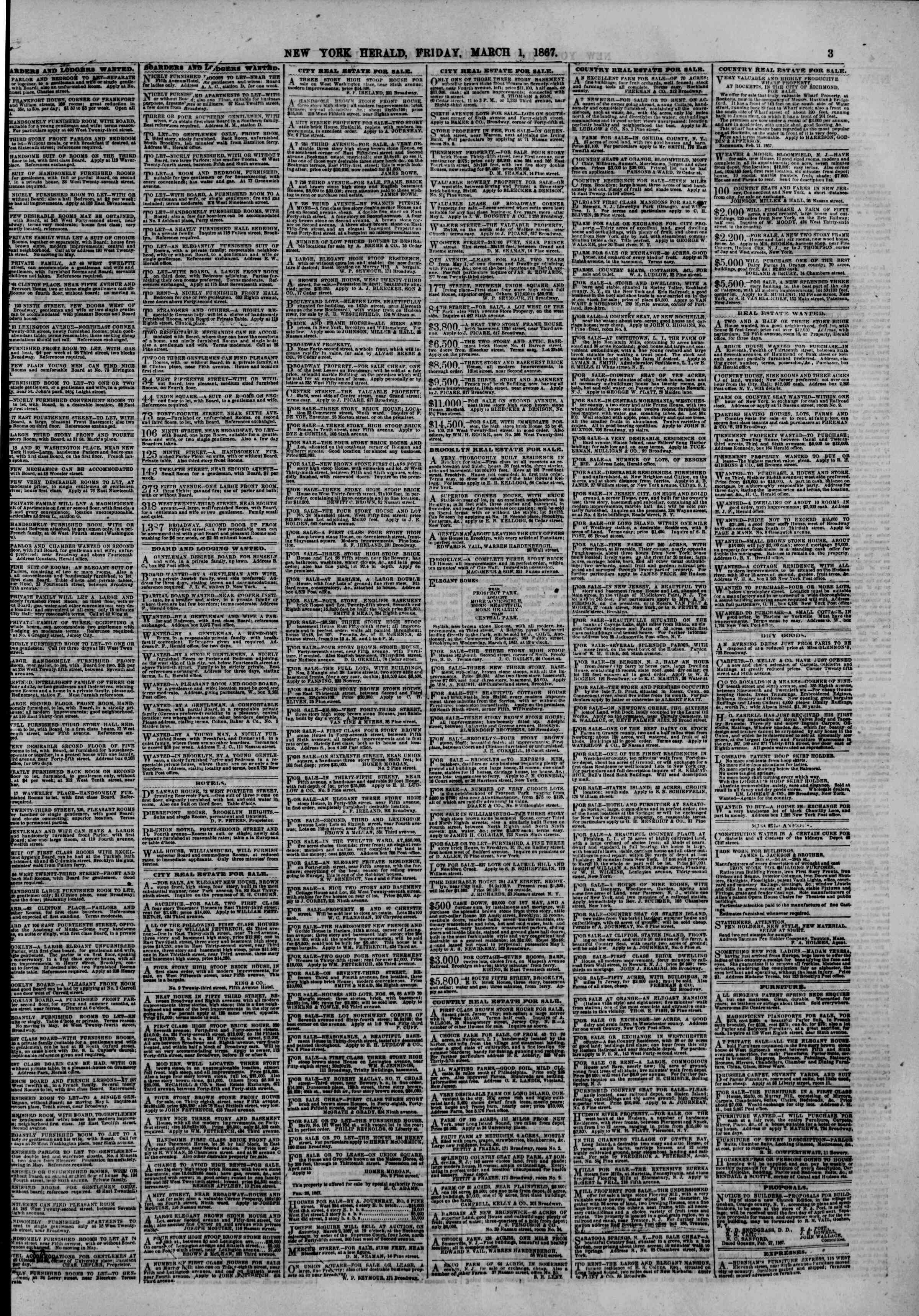 Newspaper of The New York Herald dated March 1, 1867 Page 3