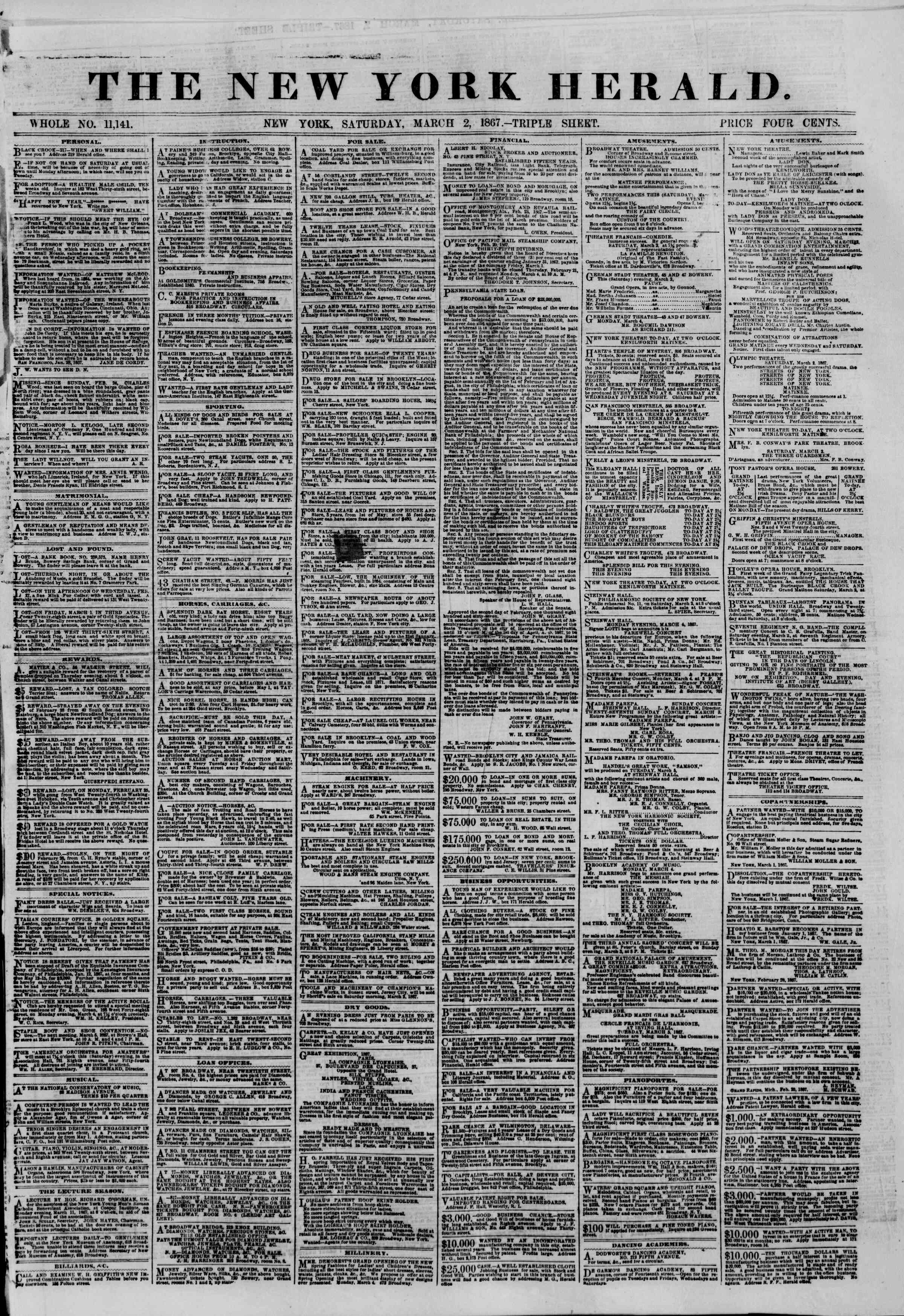 Newspaper of The New York Herald dated March 2, 1867 Page 1