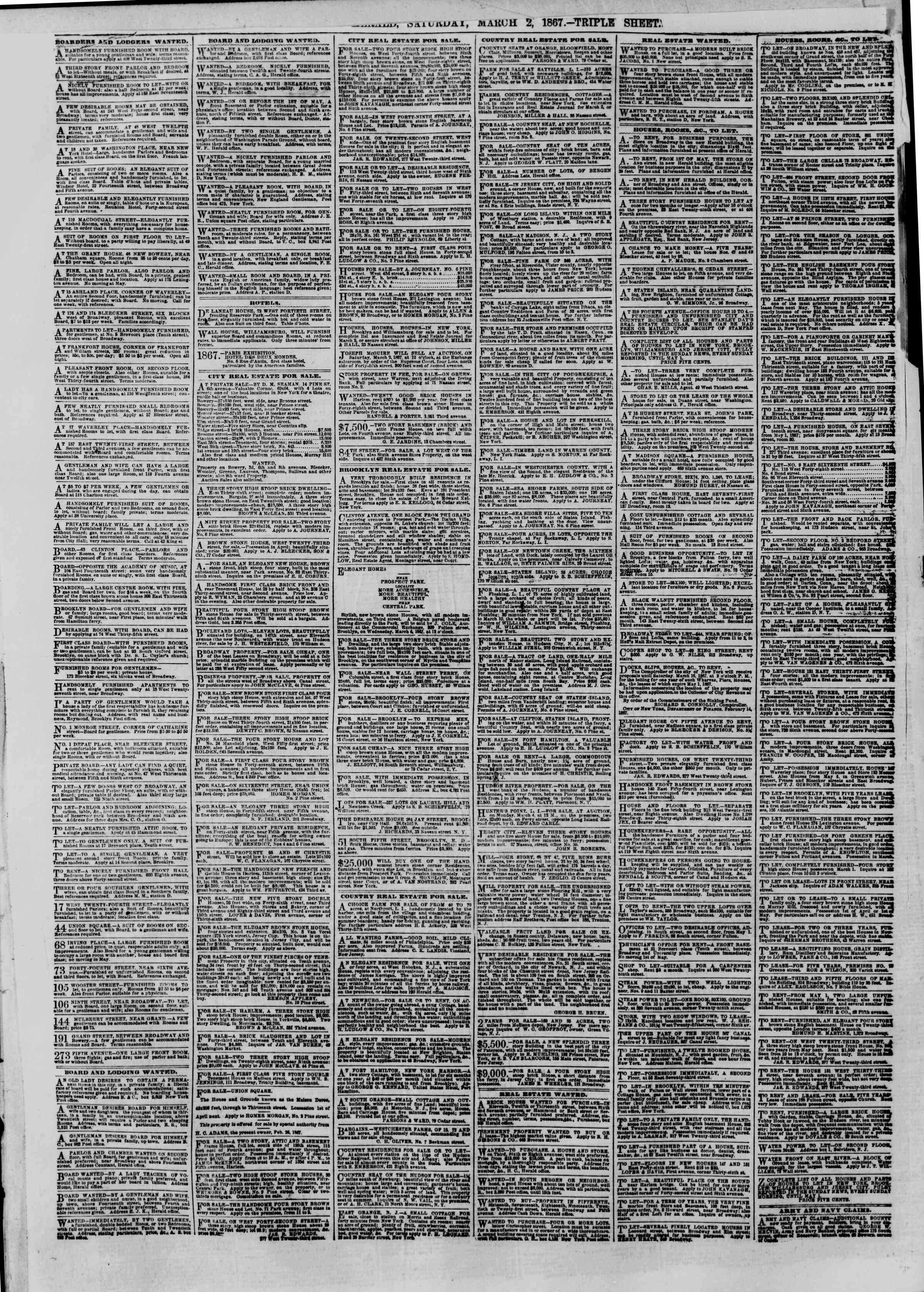 Newspaper of The New York Herald dated 2 Mart 1867 Page 2
