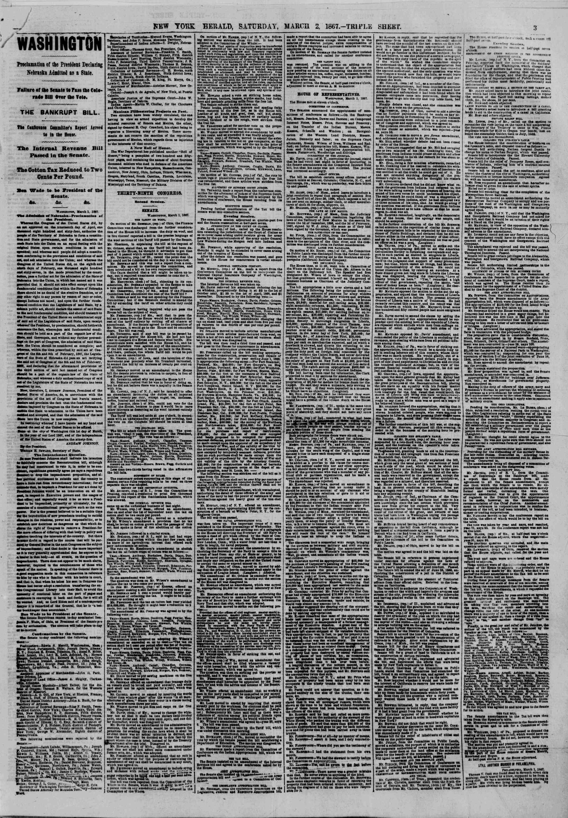 Newspaper of The New York Herald dated March 2, 1867 Page 3