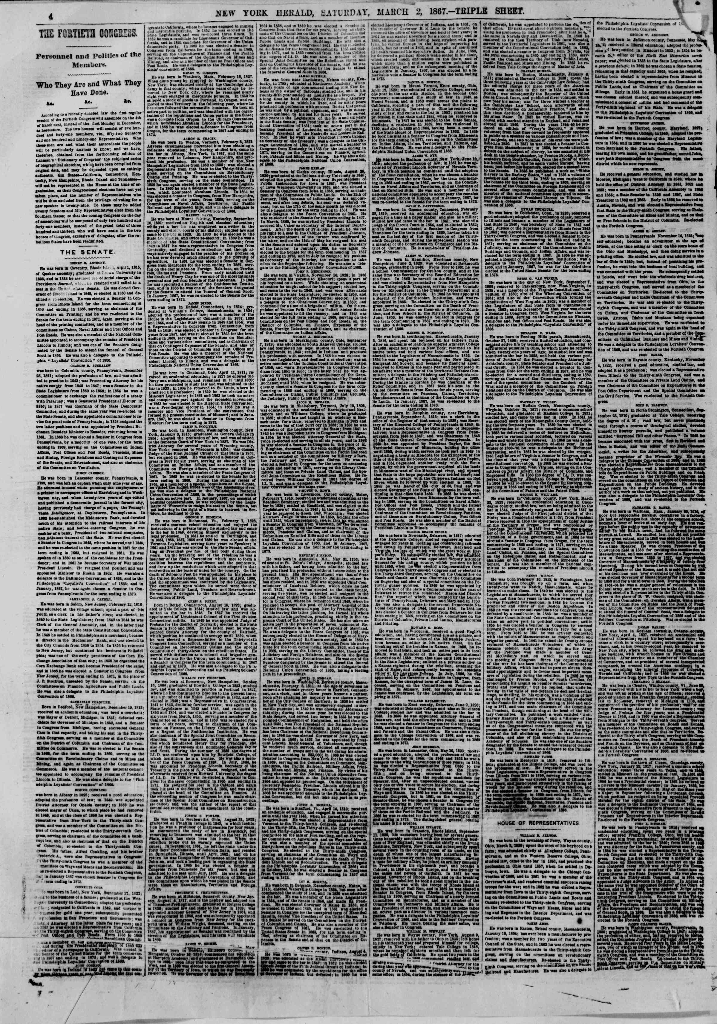 Newspaper of The New York Herald dated March 2, 1867 Page 4