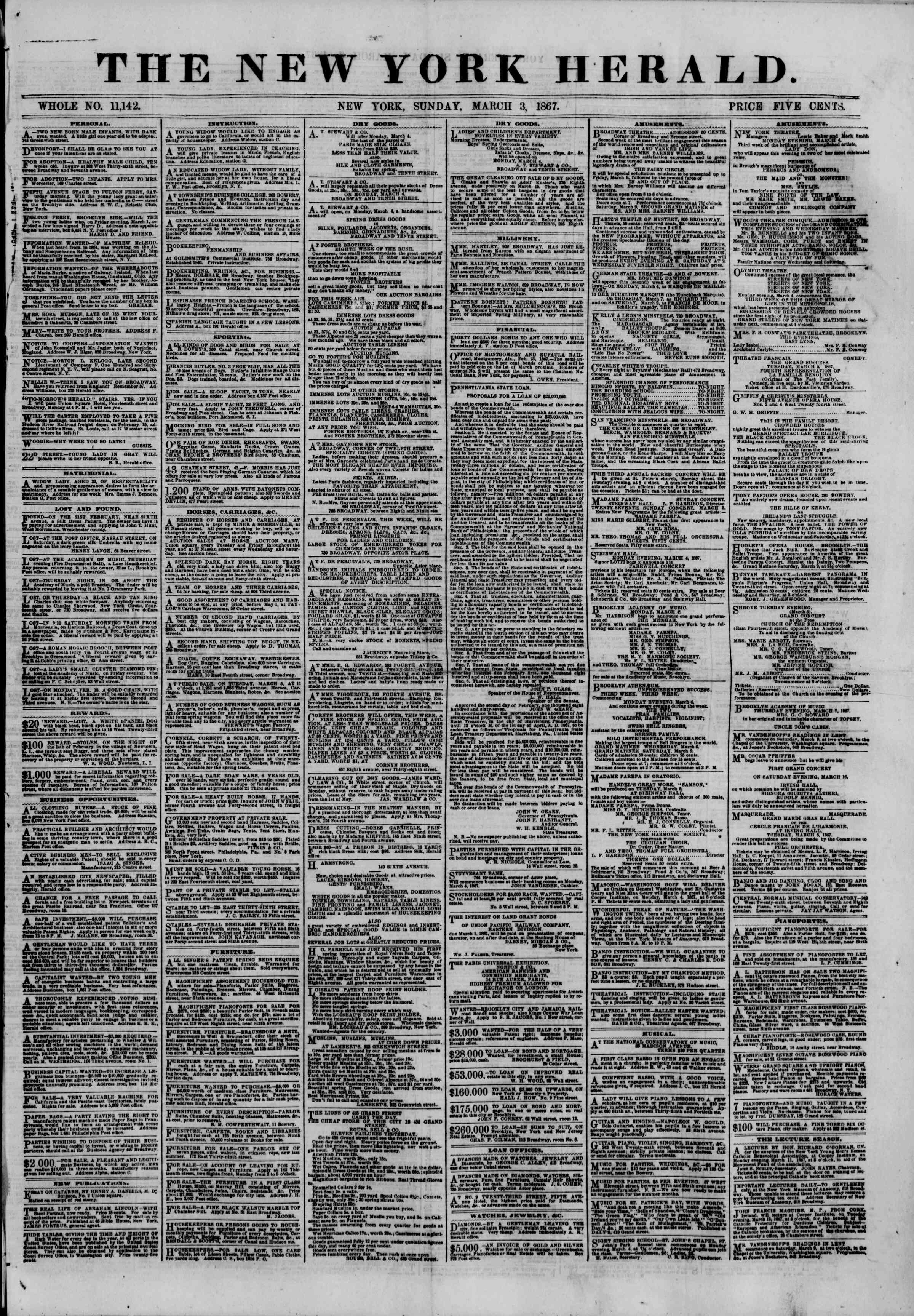 Newspaper of The New York Herald dated March 3, 1867 Page 1