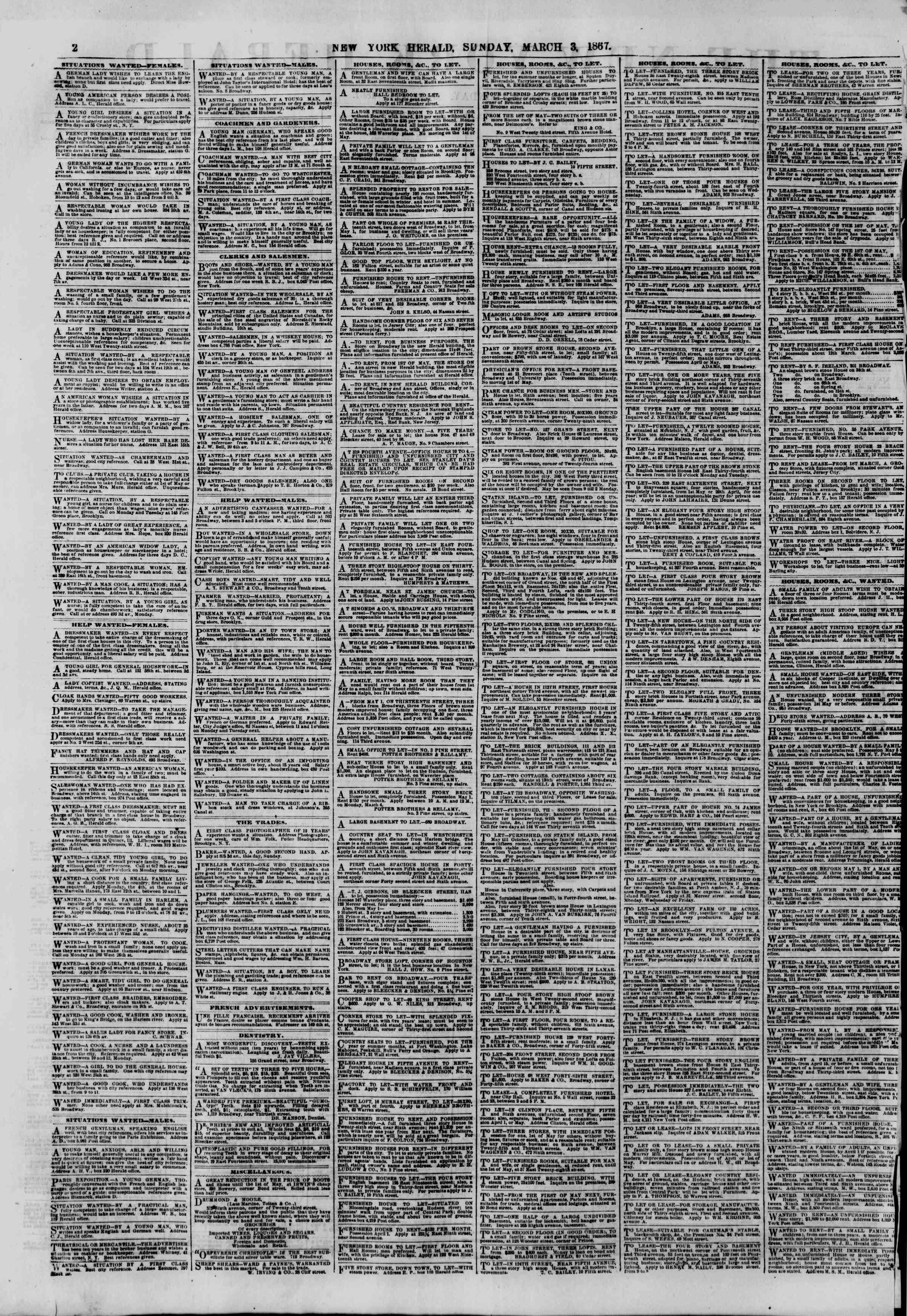 Newspaper of The New York Herald dated March 3, 1867 Page 2
