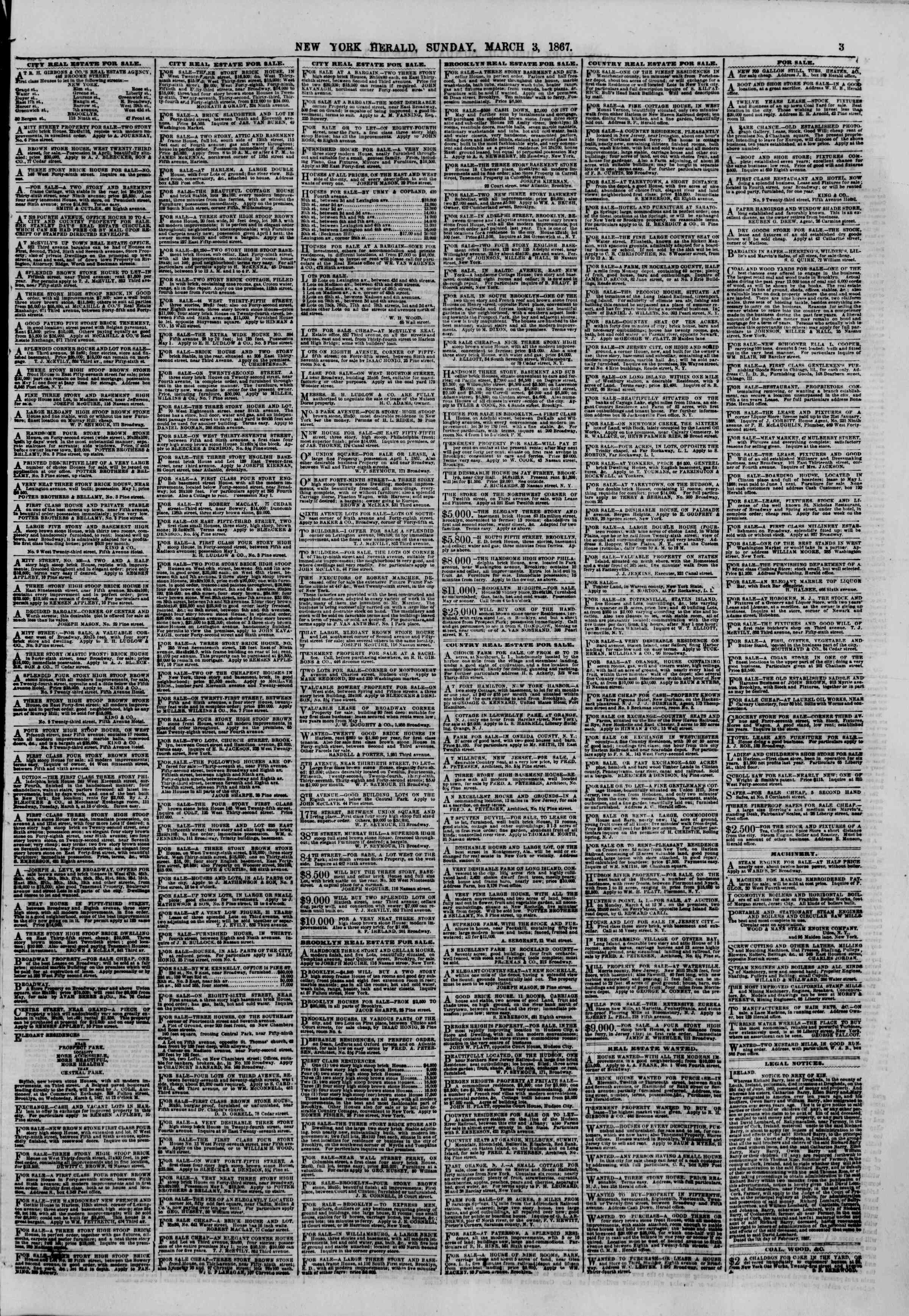 Newspaper of The New York Herald dated March 3, 1867 Page 3