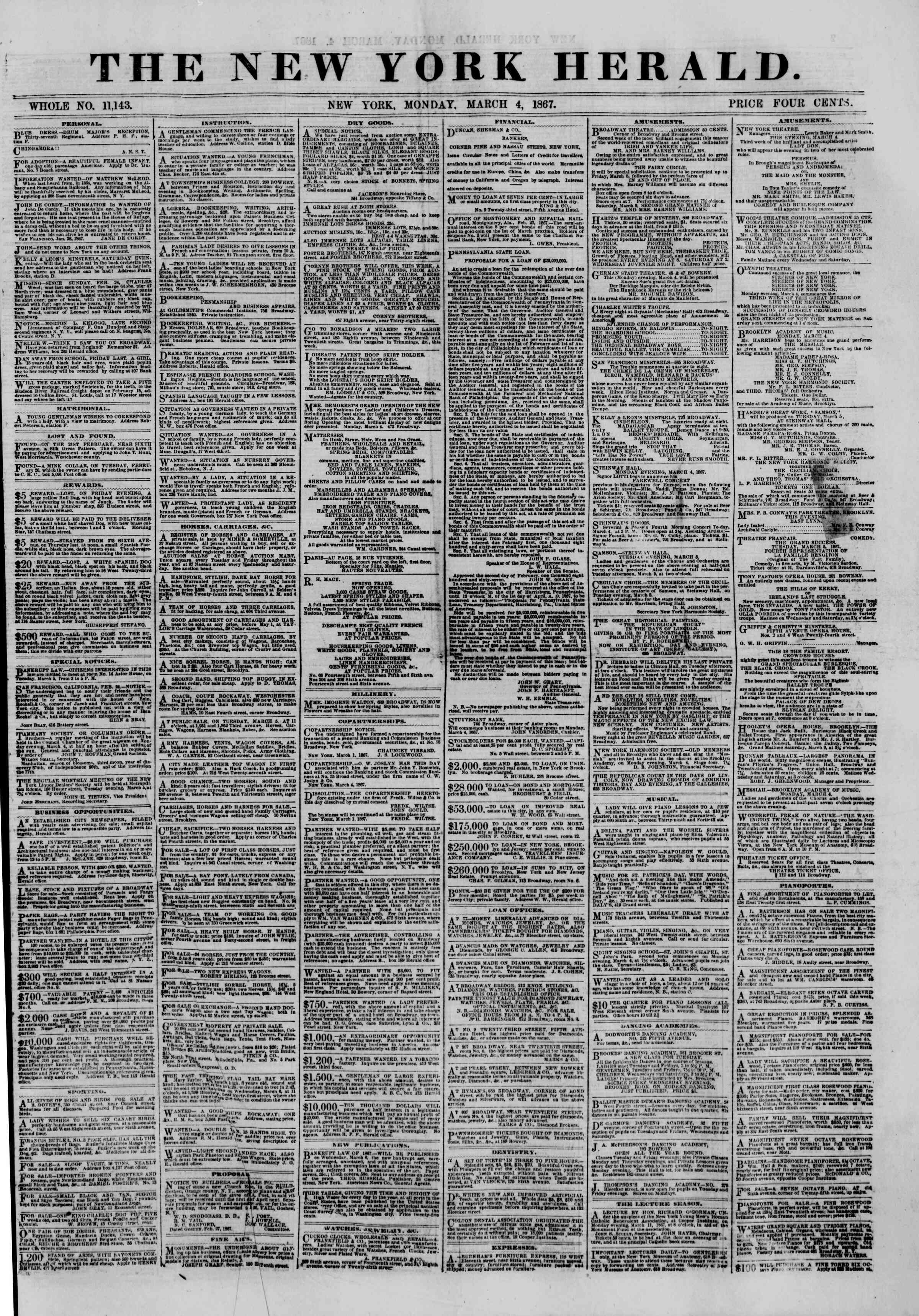 Newspaper of The New York Herald dated March 4, 1867 Page 1