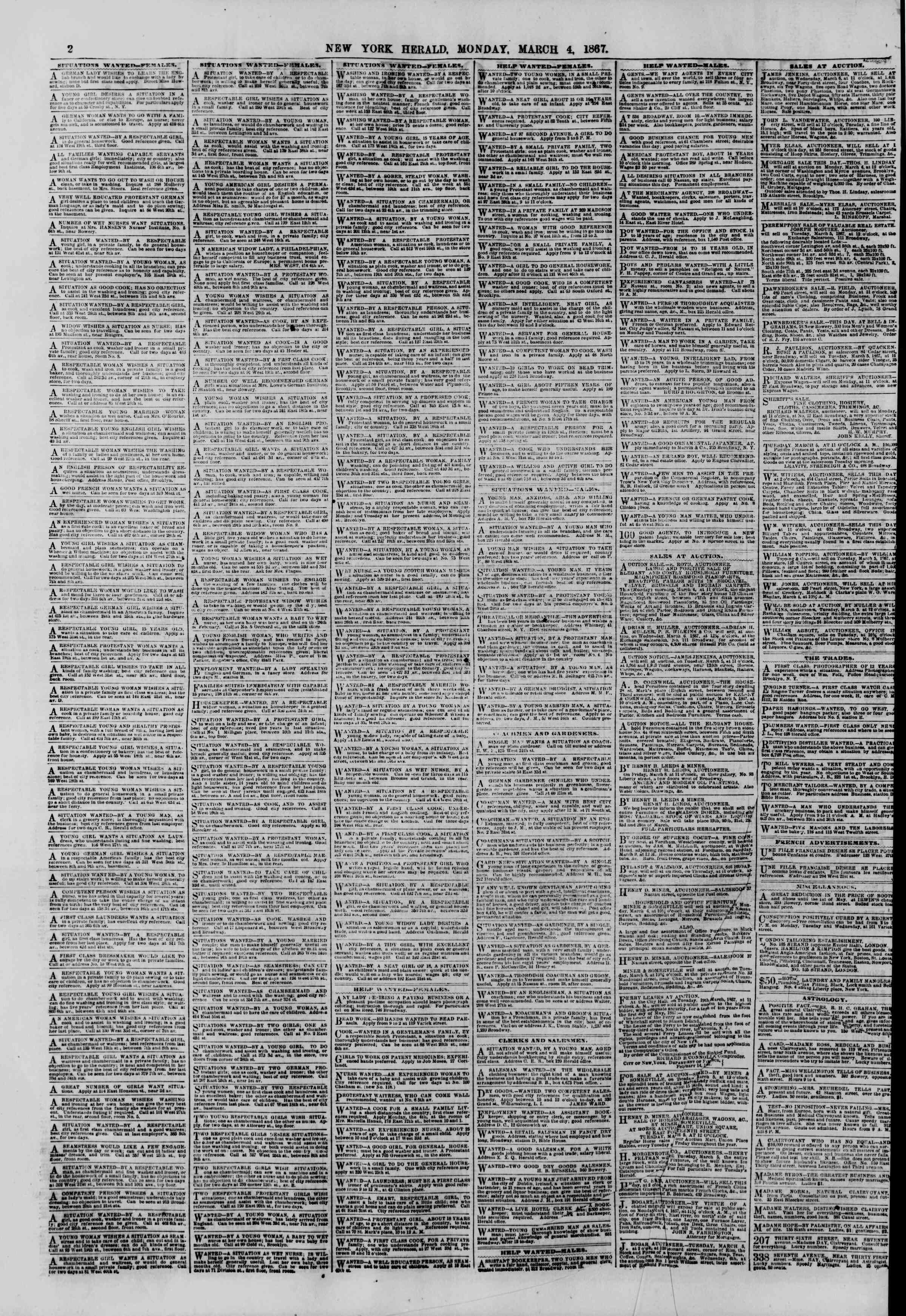 Newspaper of The New York Herald dated March 4, 1867 Page 2