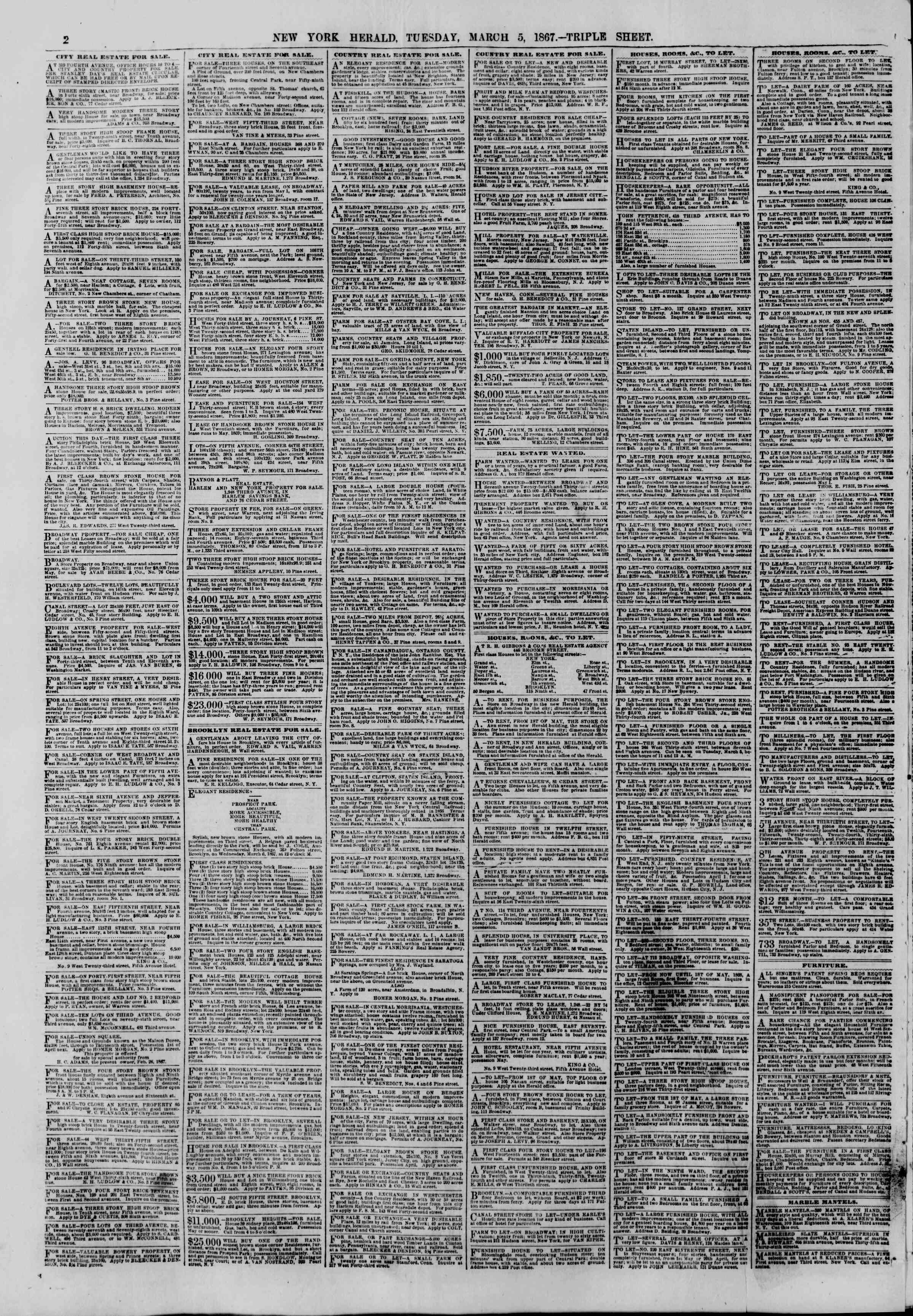 Newspaper of The New York Herald dated 5 Mart 1867 Page 2