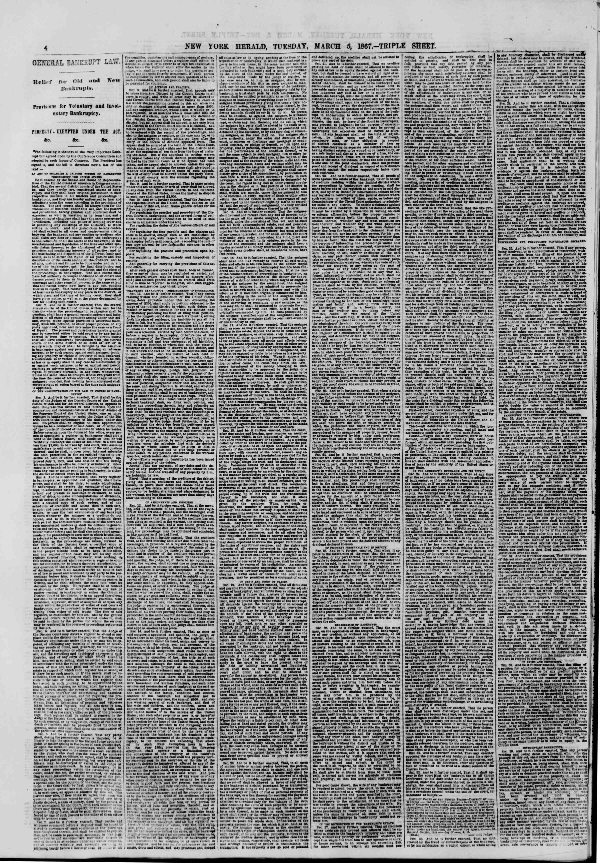 Newspaper of The New York Herald dated March 5, 1867 Page 4