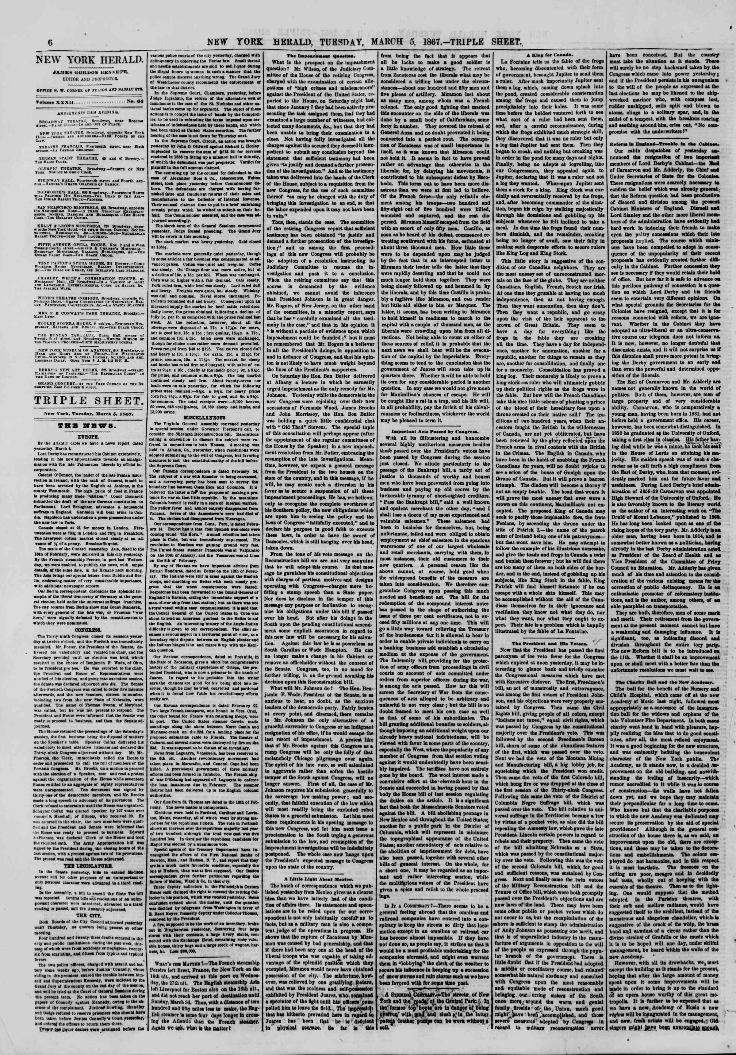 Newspaper of The New York Herald dated March 5, 1867 Page 6
