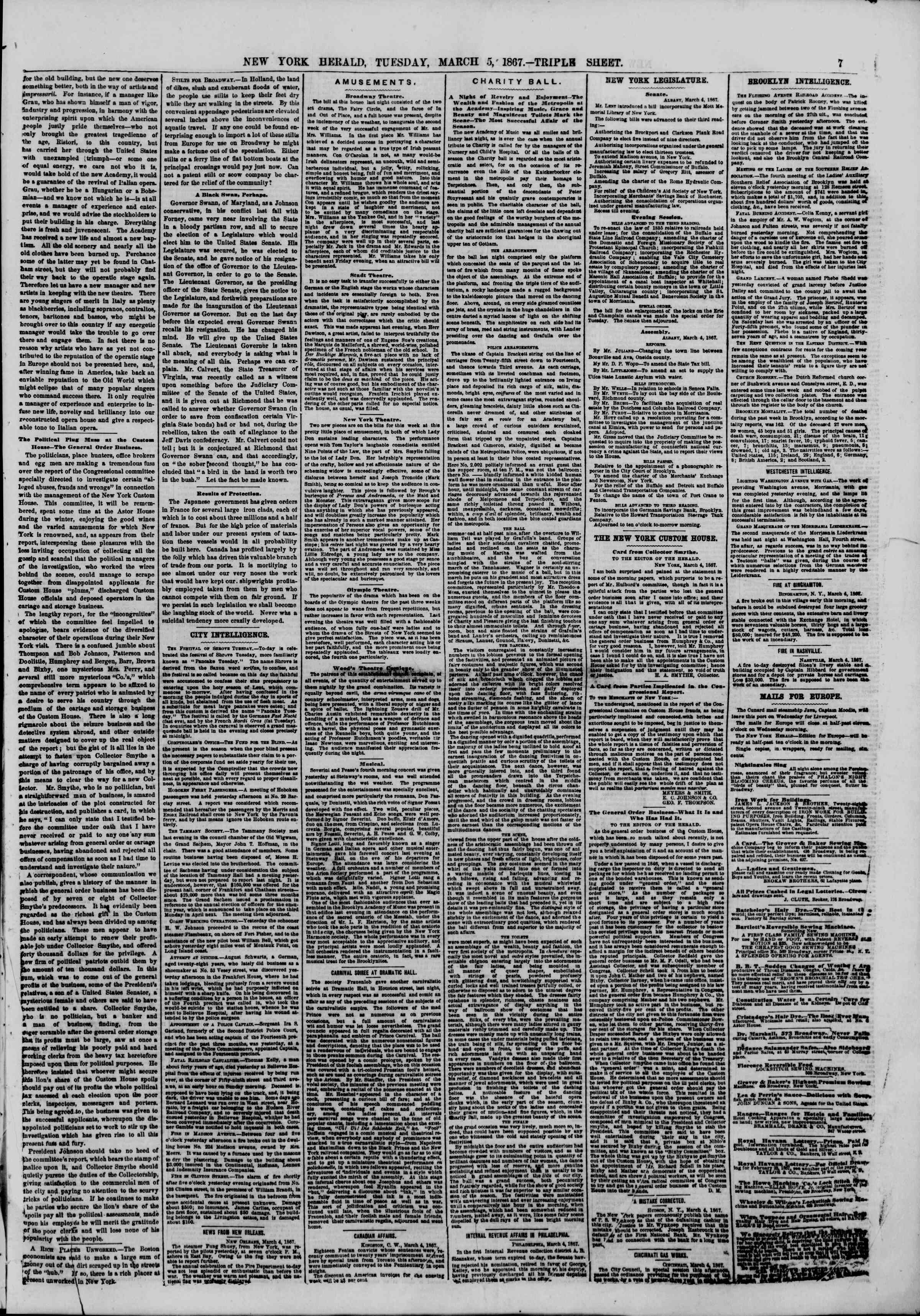 Newspaper of The New York Herald dated March 5, 1867 Page 7