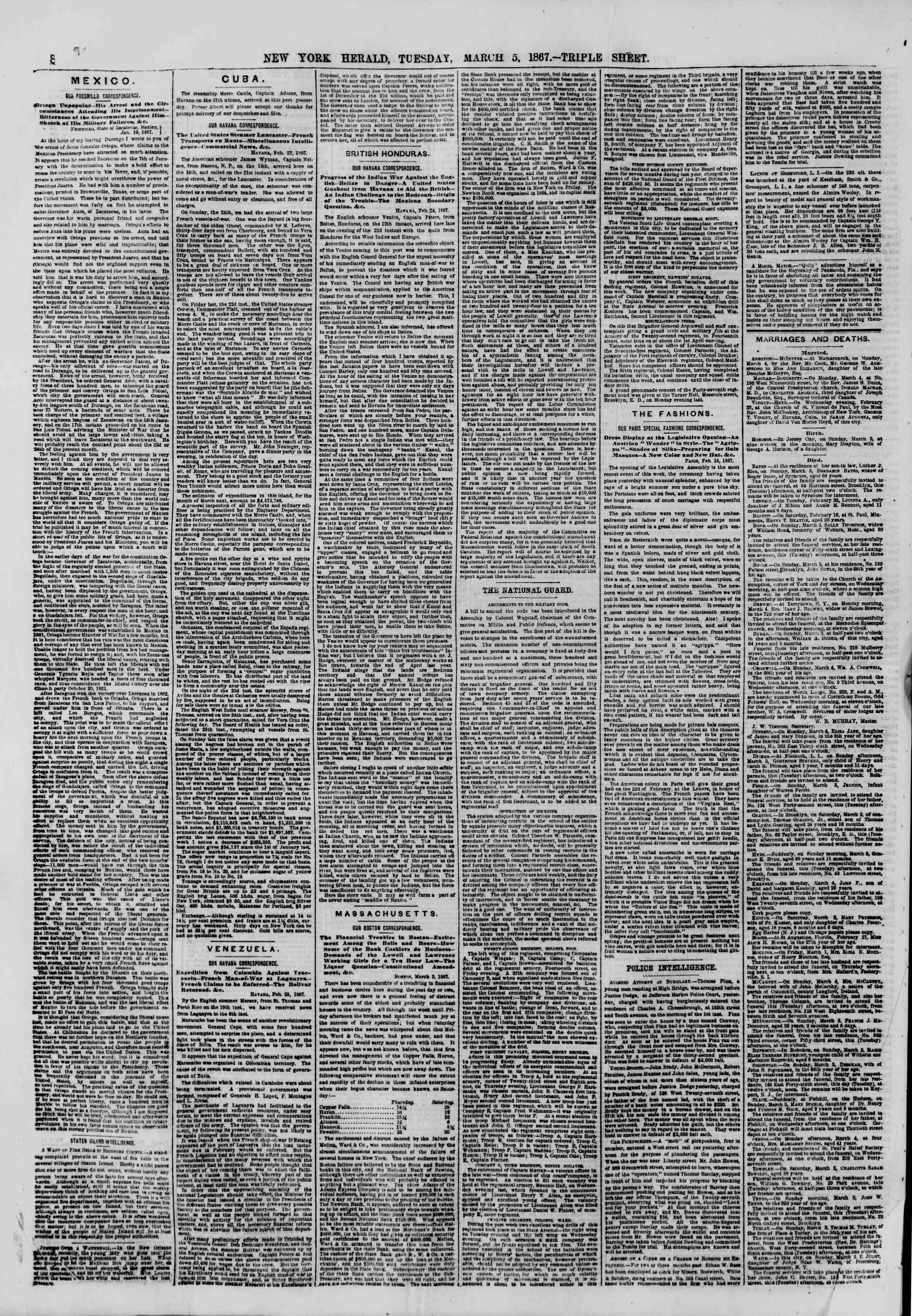 Newspaper of The New York Herald dated March 5, 1867 Page 8