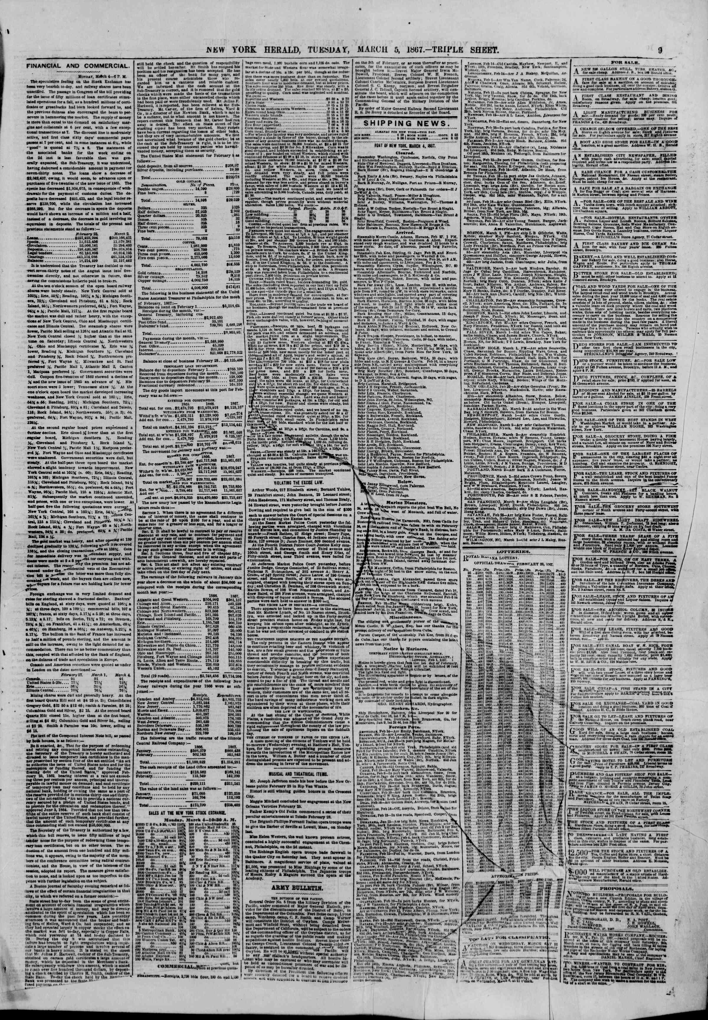 Newspaper of The New York Herald dated March 5, 1867 Page 9