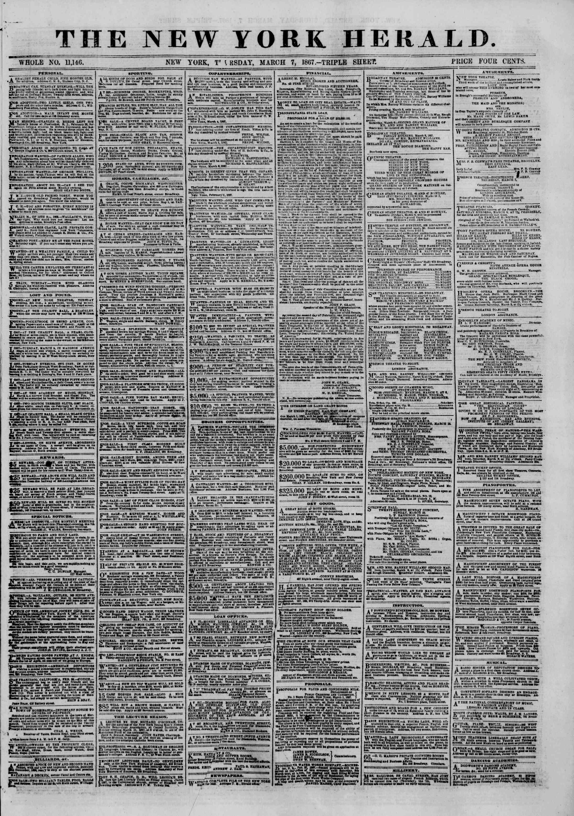 Newspaper of The New York Herald dated March 7, 1867 Page 1