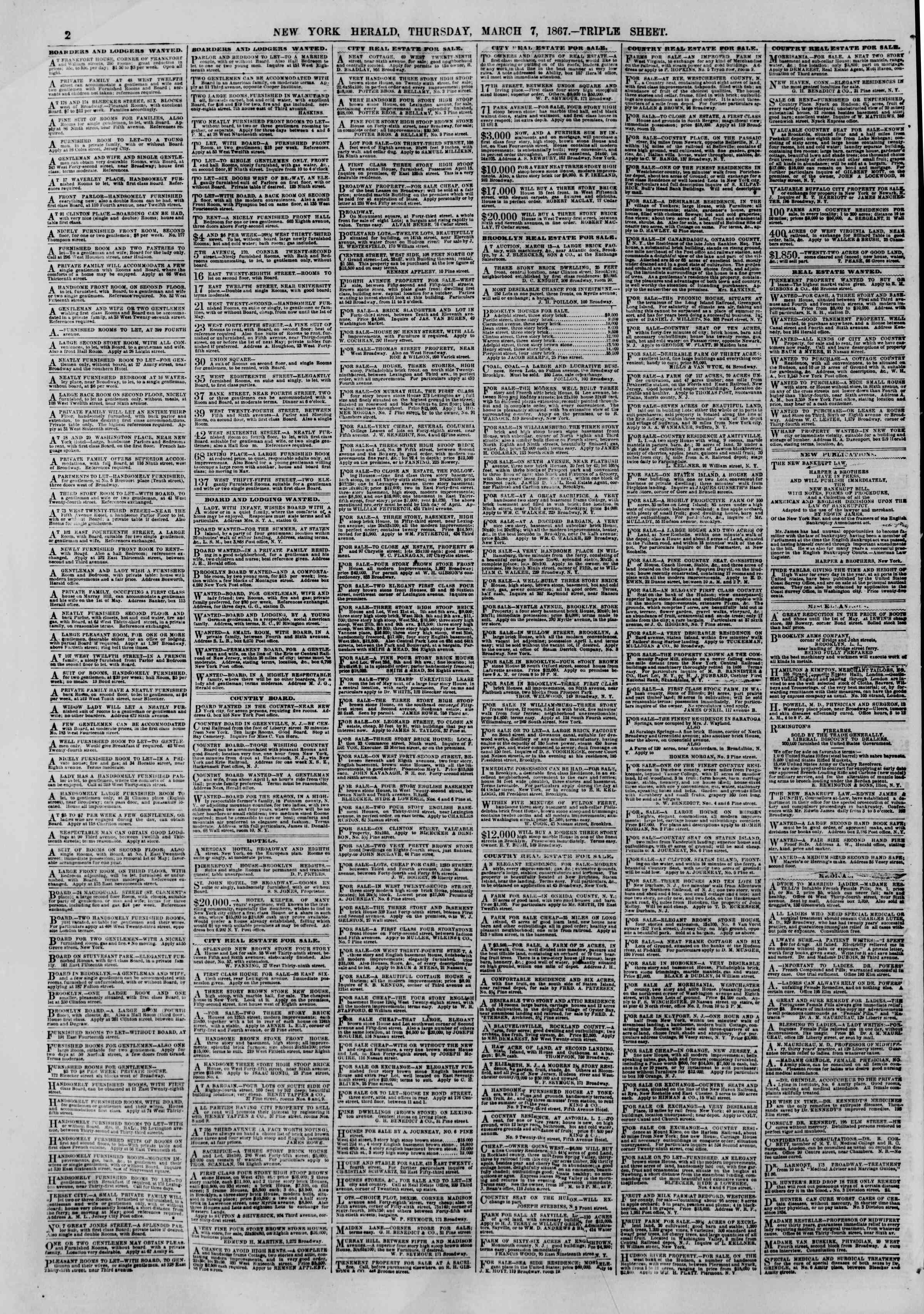 Newspaper of The New York Herald dated March 7, 1867 Page 2