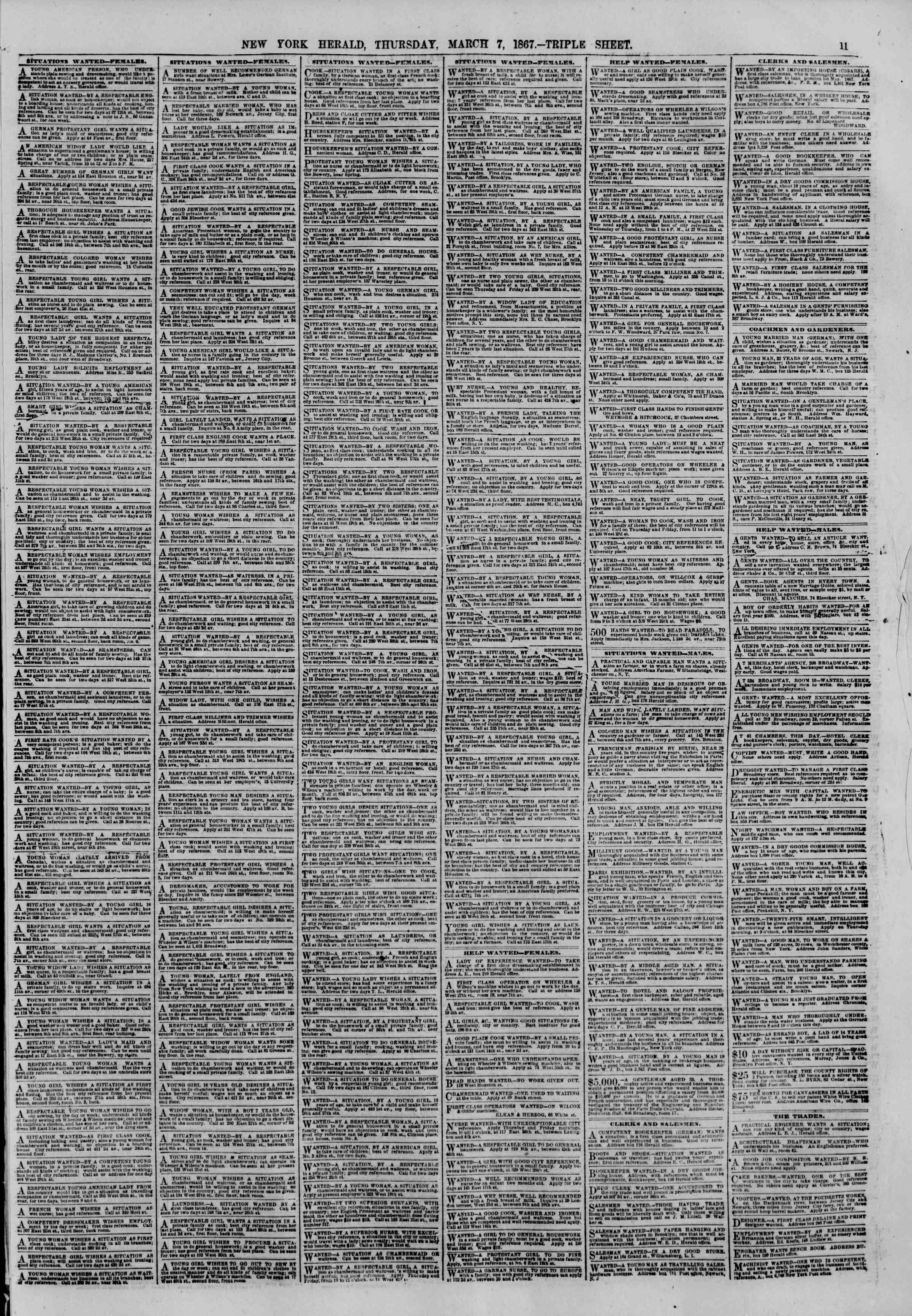 Newspaper of The New York Herald dated March 7, 1867 Page 11