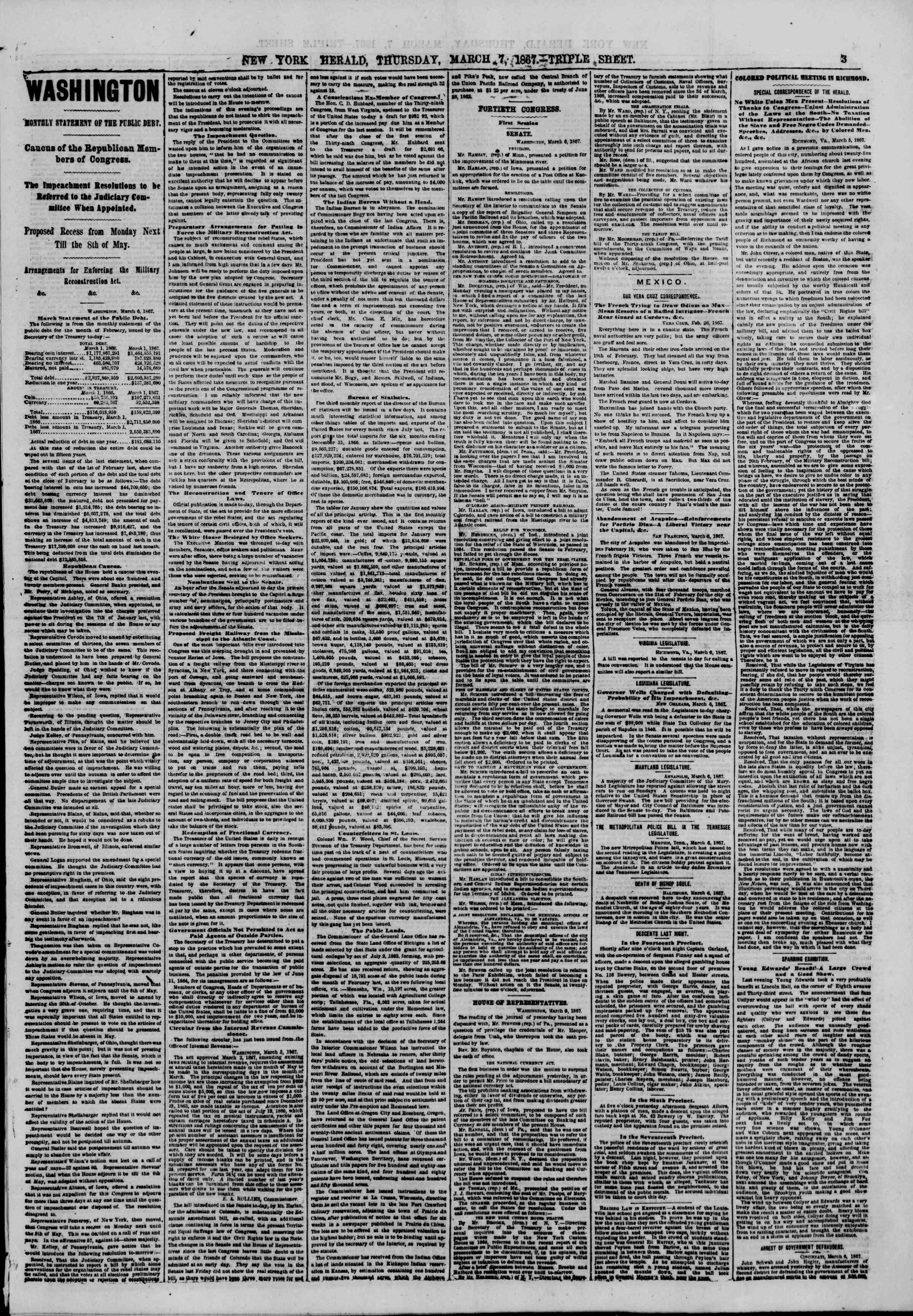 Newspaper of The New York Herald dated March 7, 1867 Page 3