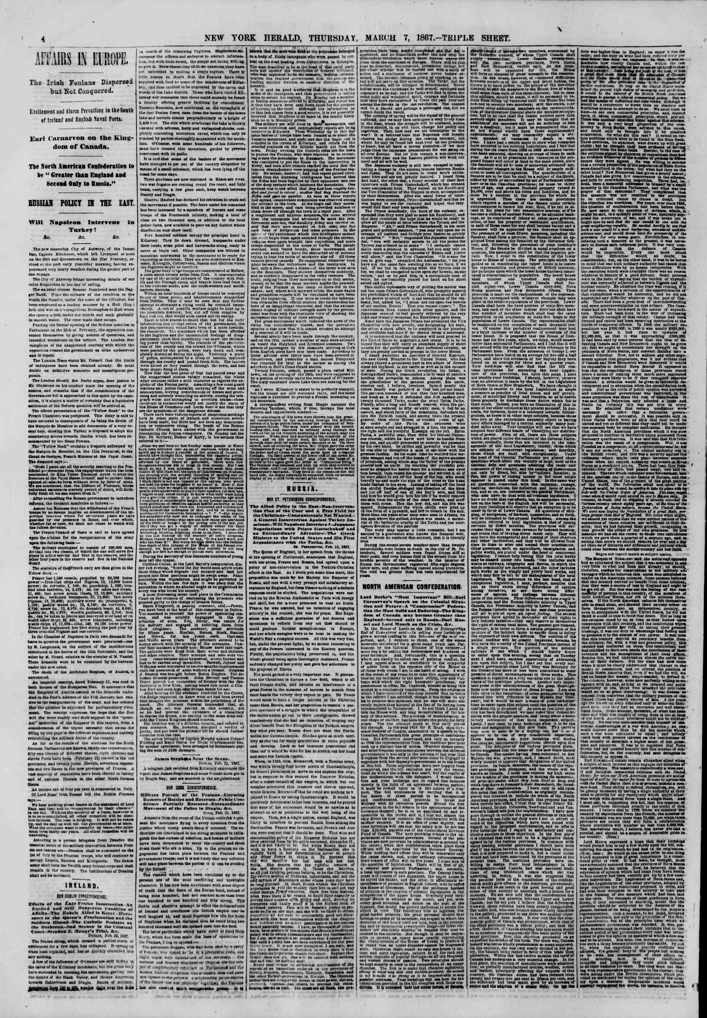 Newspaper of The New York Herald dated March 7, 1867 Page 4
