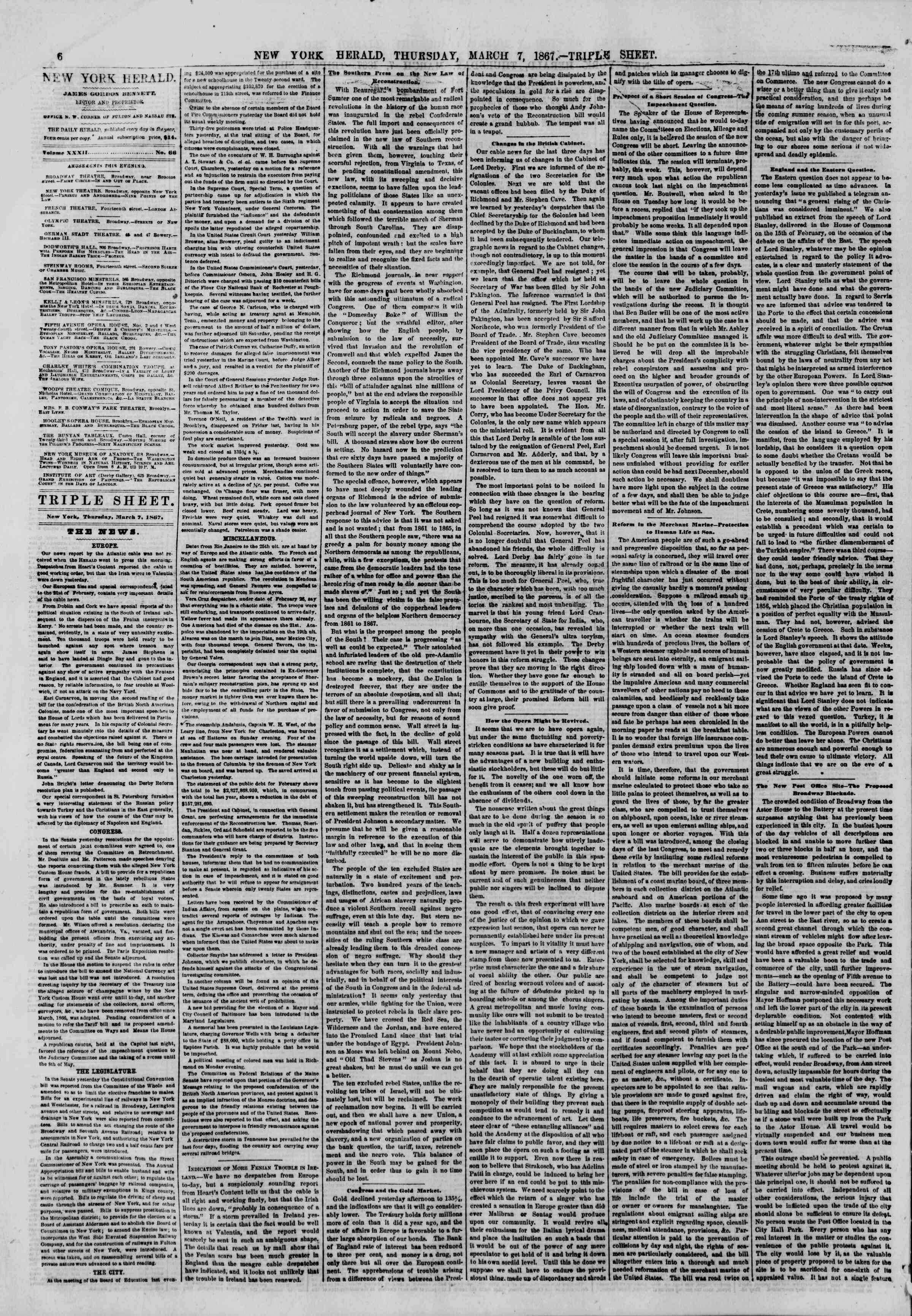 Newspaper of The New York Herald dated 7 Mart 1867 Page 6