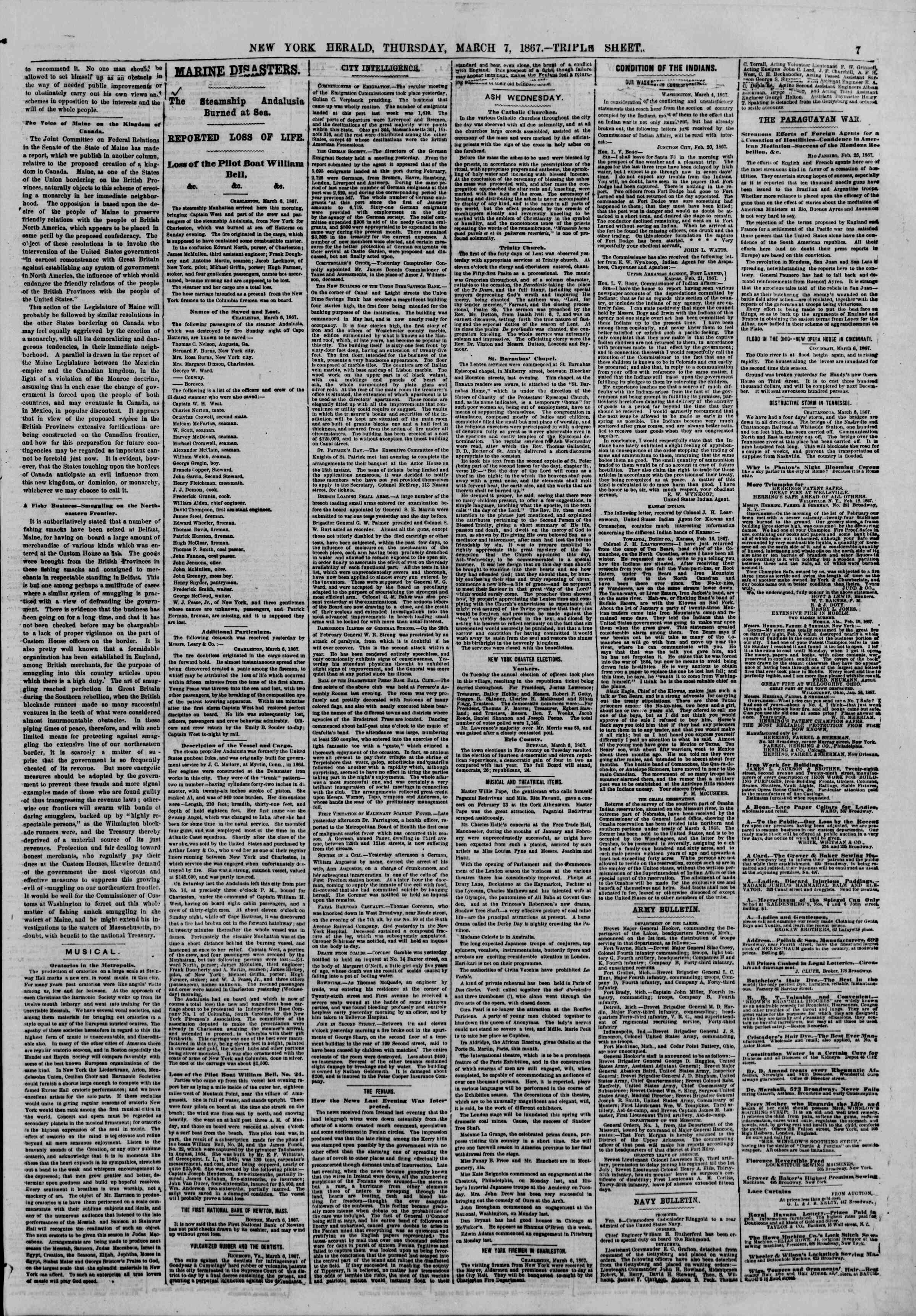 Newspaper of The New York Herald dated March 7, 1867 Page 7