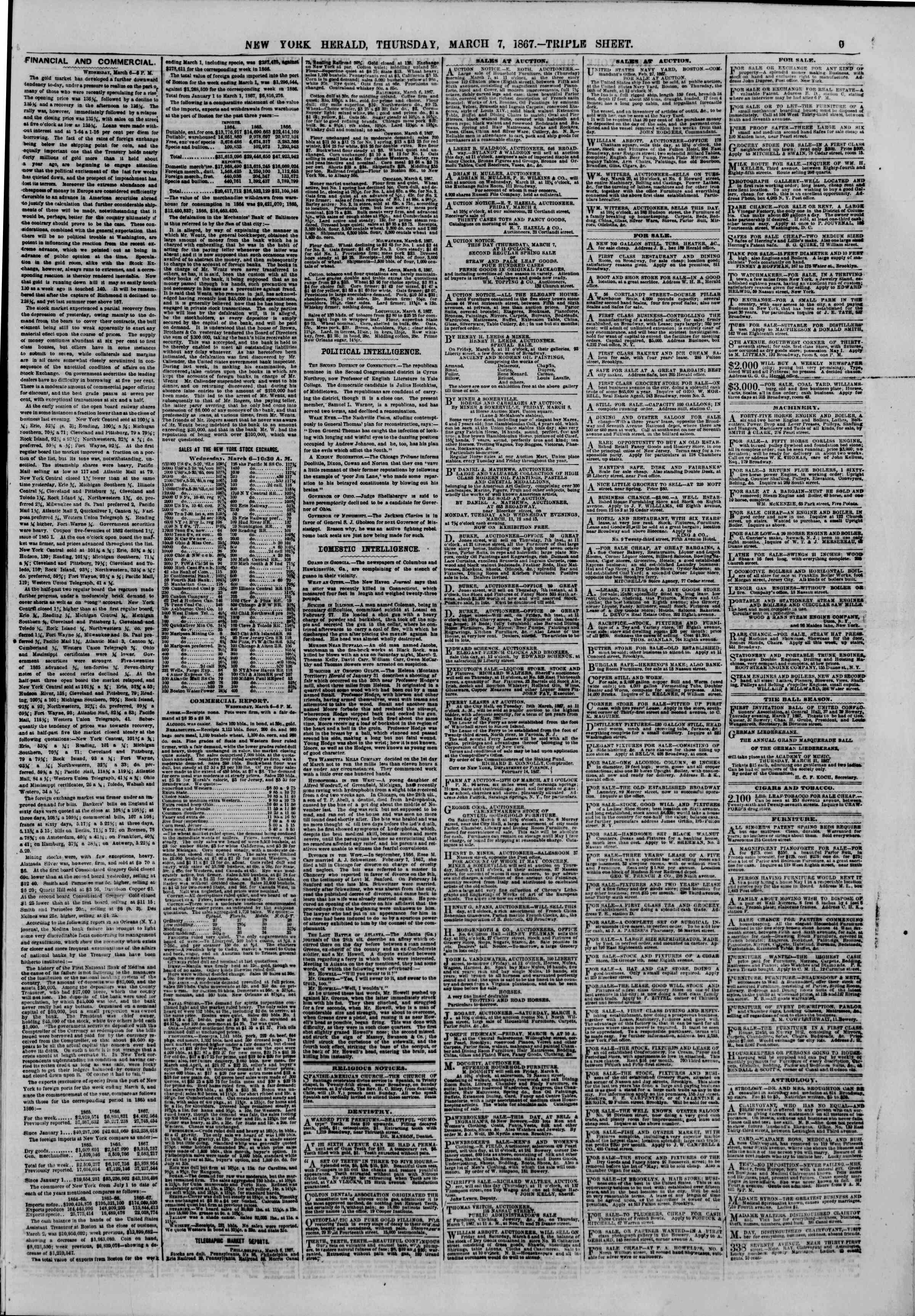 Newspaper of The New York Herald dated March 7, 1867 Page 9