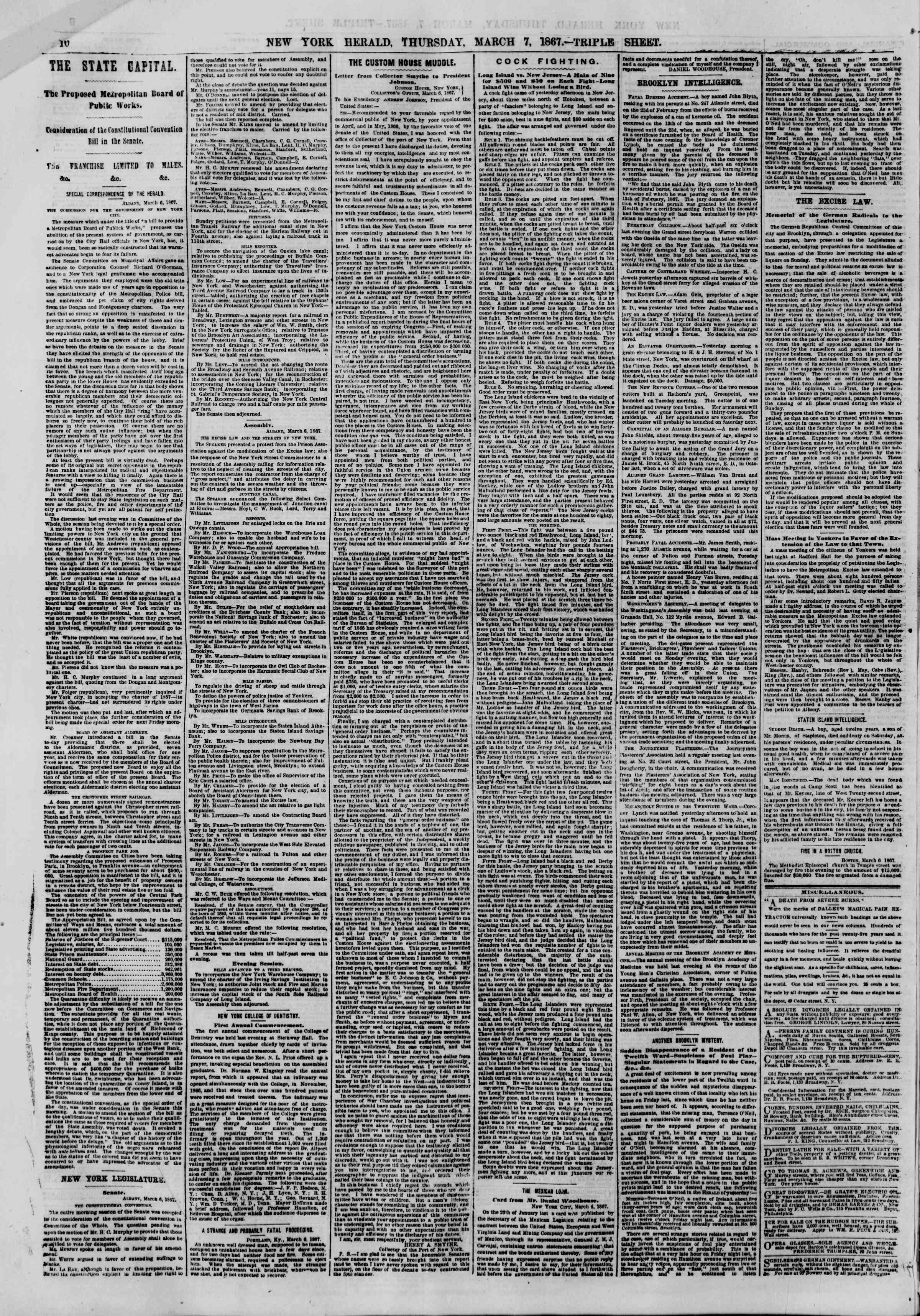 Newspaper of The New York Herald dated March 7, 1867 Page 10
