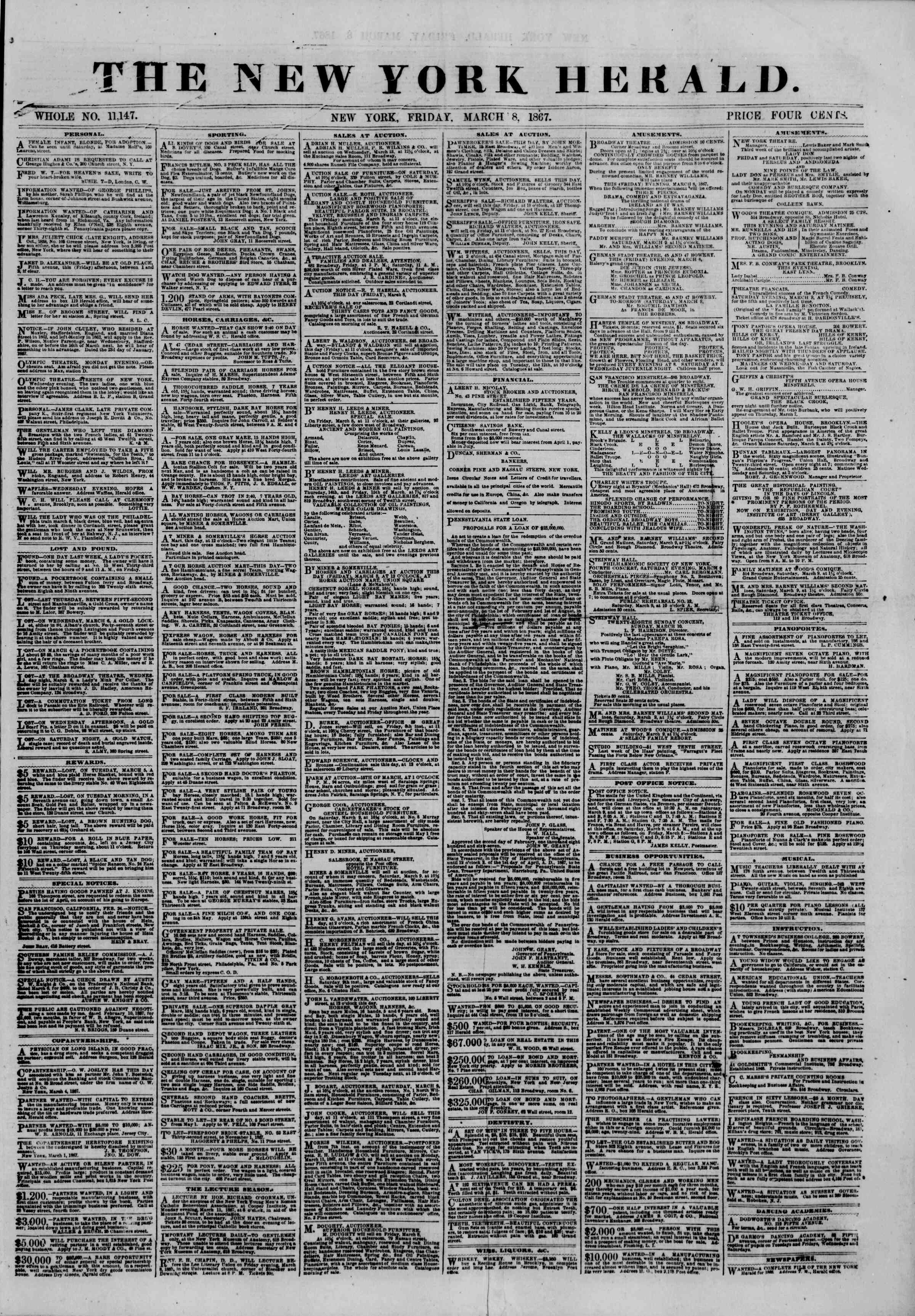 Newspaper of The New York Herald dated March 8, 1867 Page 1