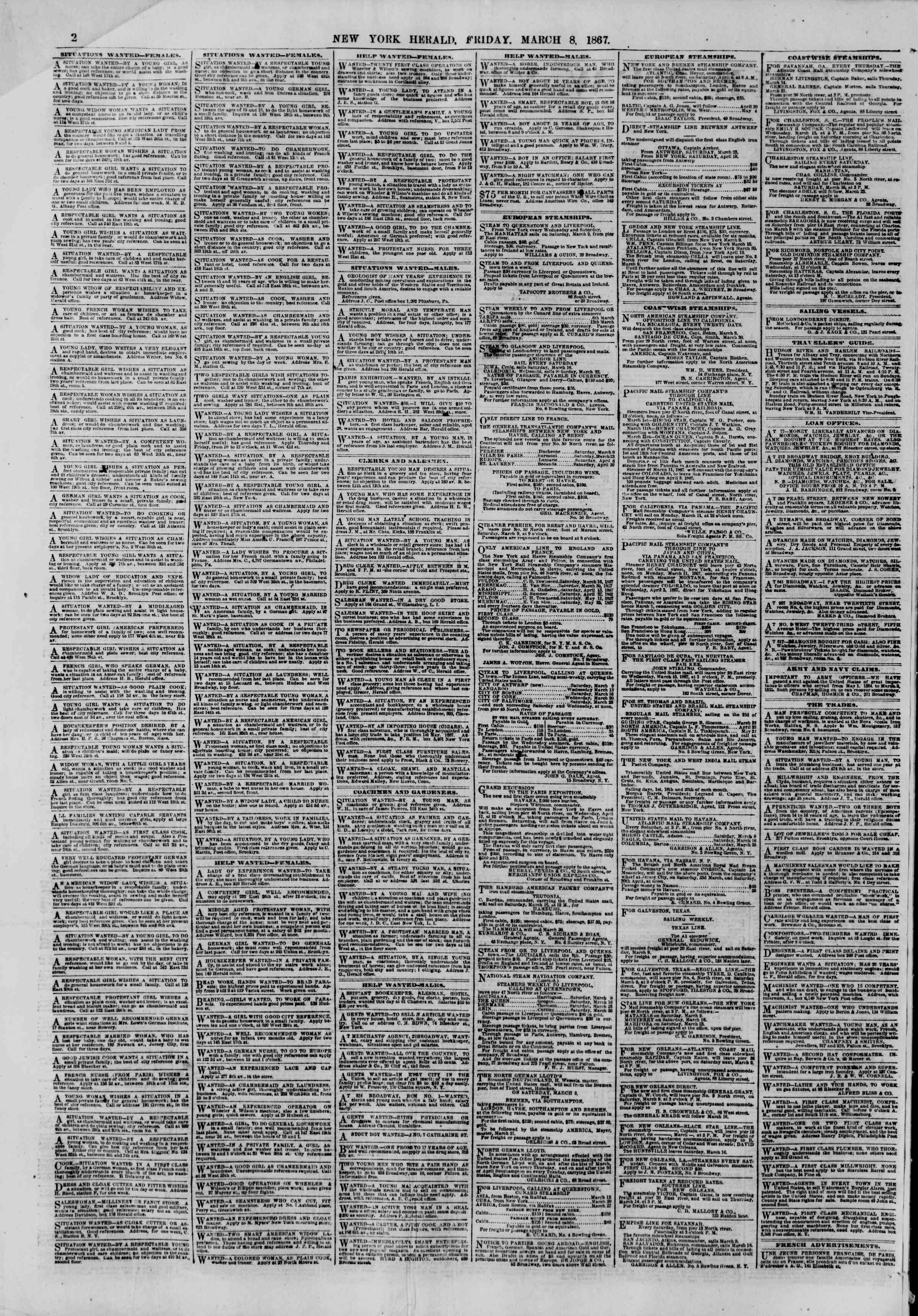 Newspaper of The New York Herald dated March 8, 1867 Page 2