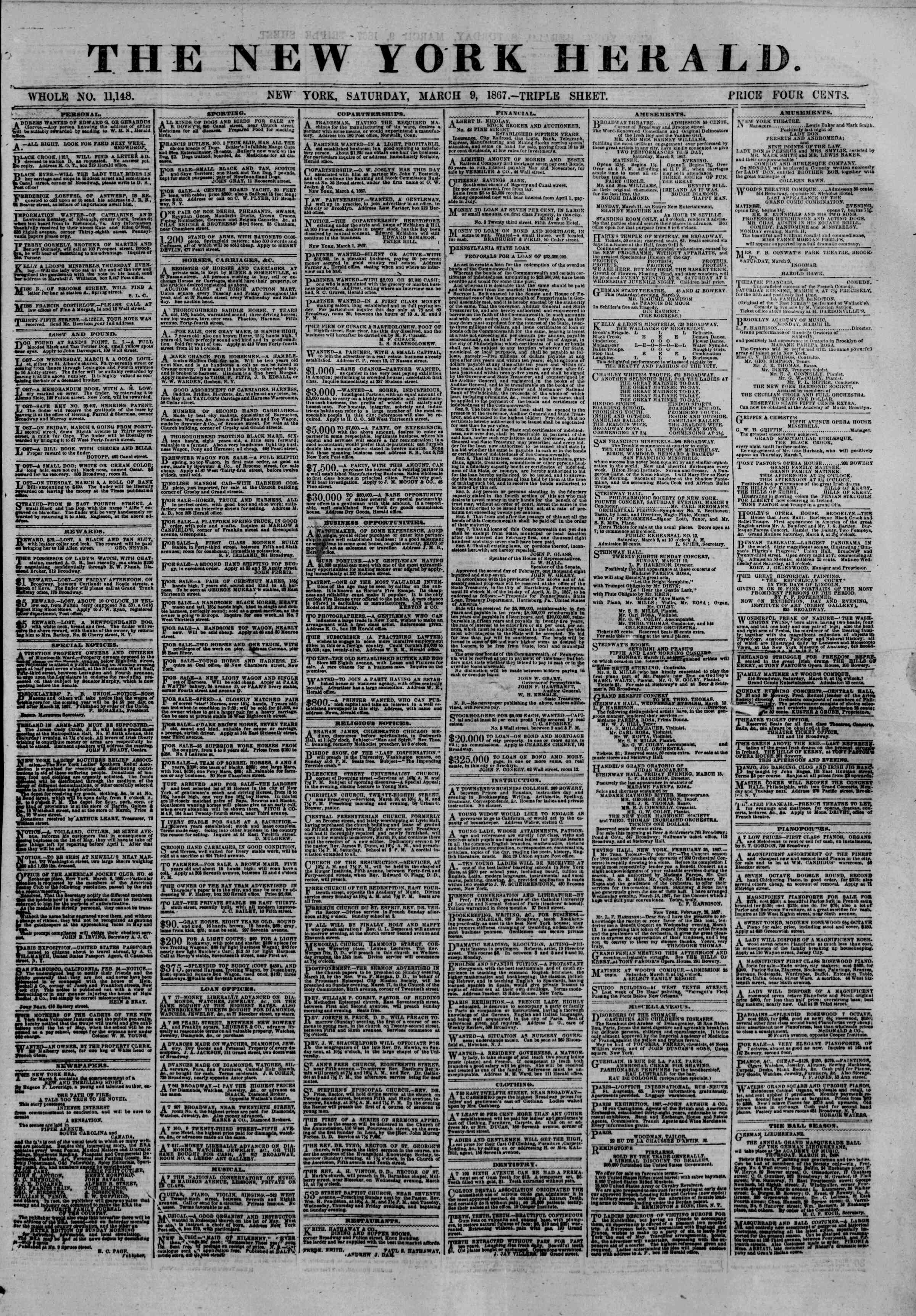 Newspaper of The New York Herald dated March 9, 1867 Page 1