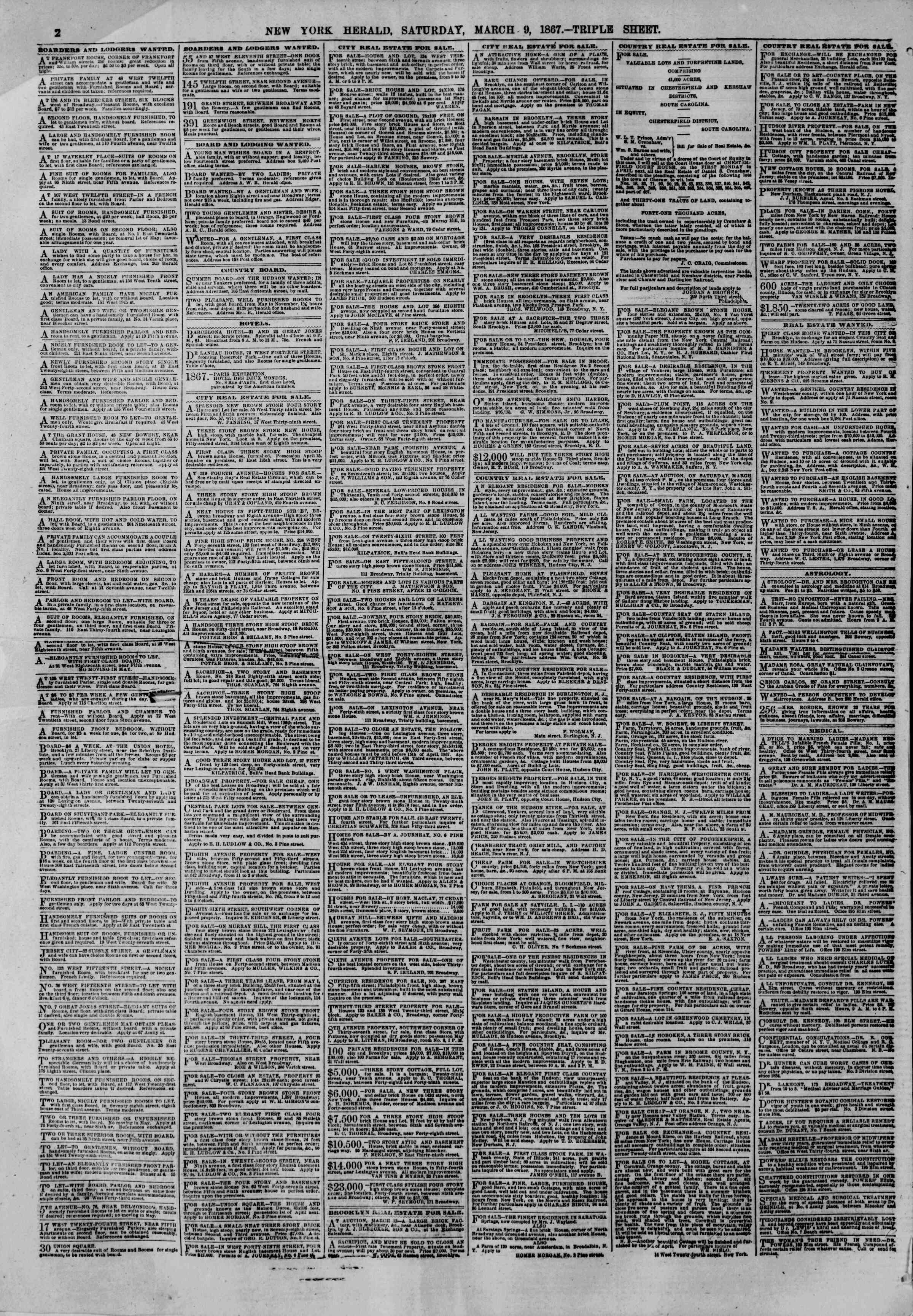 Newspaper of The New York Herald dated March 9, 1867 Page 2