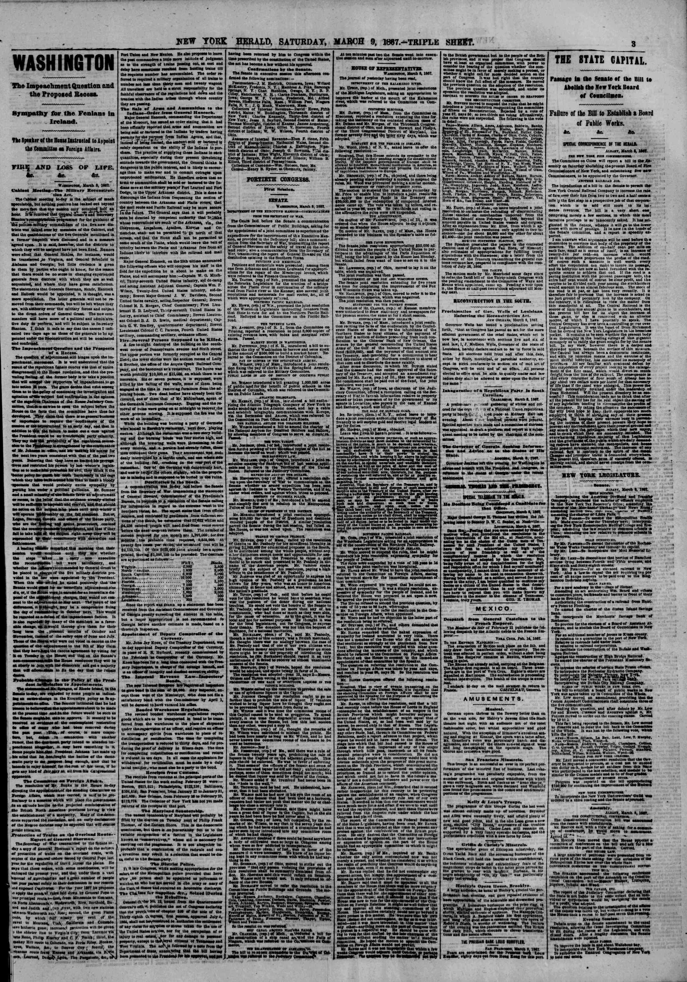 Newspaper of The New York Herald dated March 9, 1867 Page 3