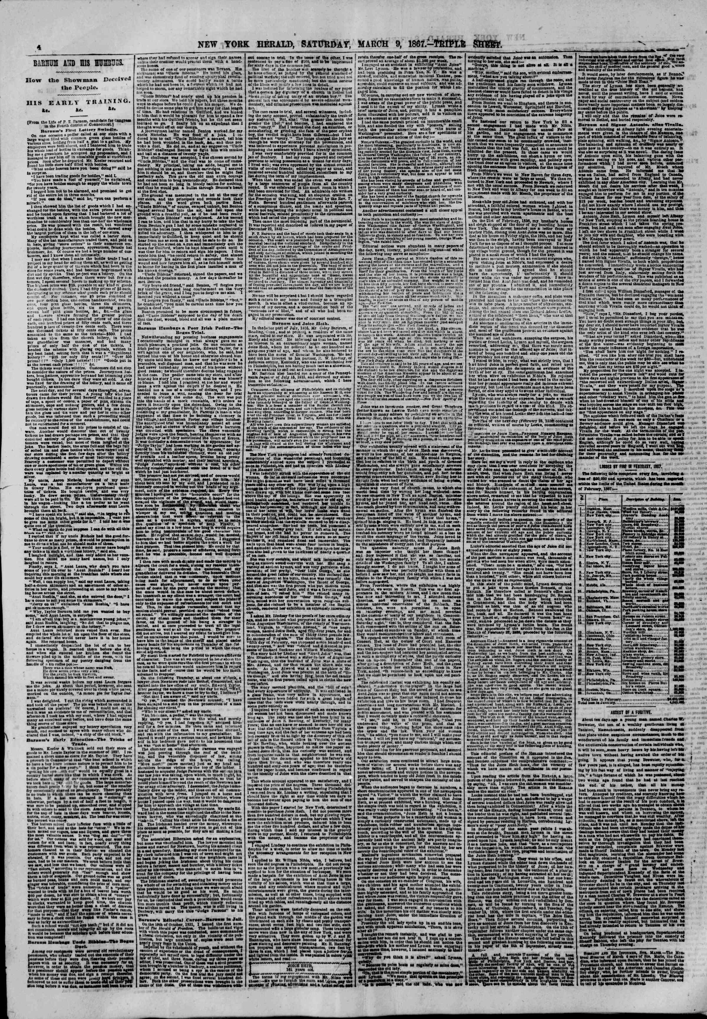Newspaper of The New York Herald dated 9 Mart 1867 Page 4