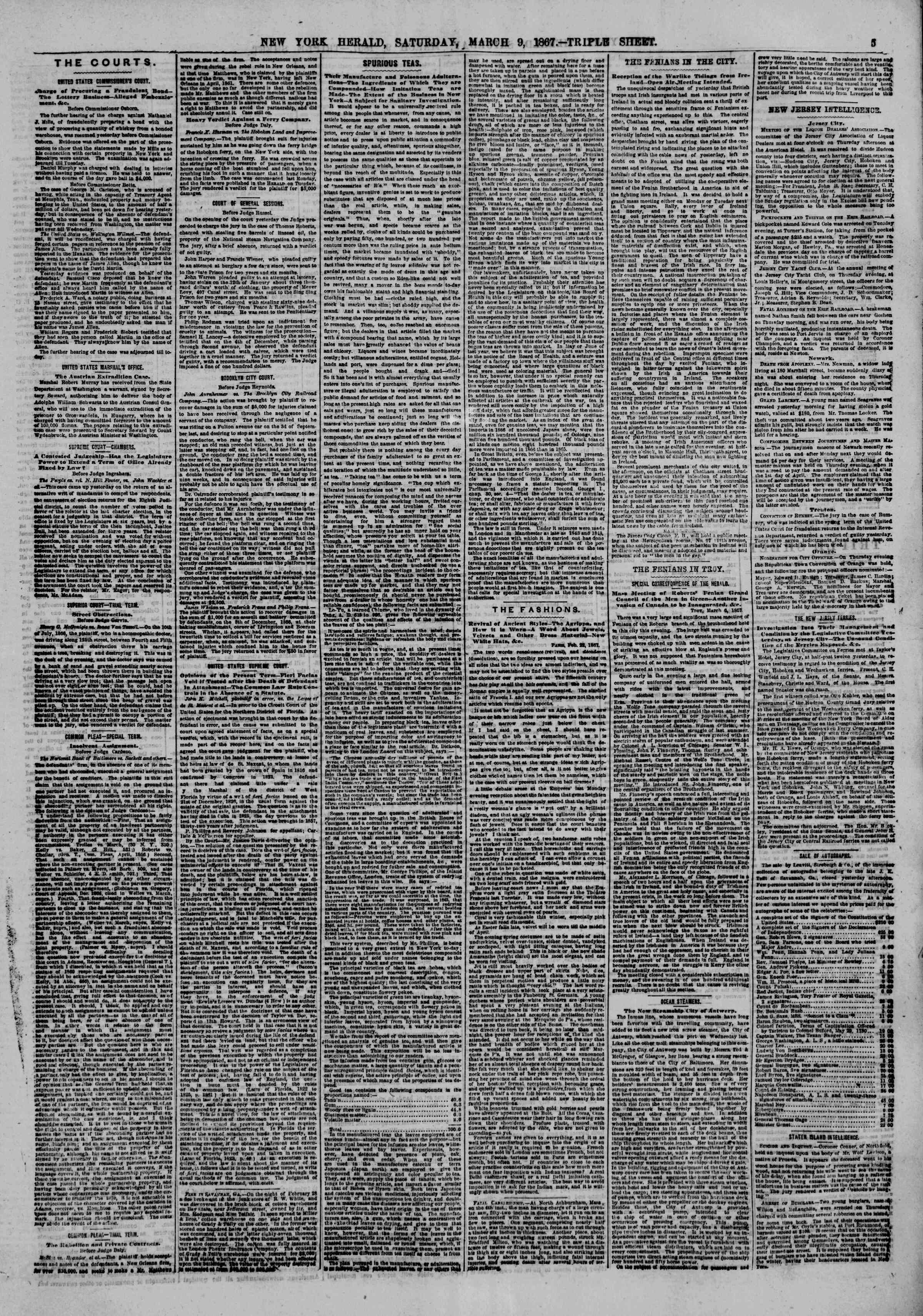 Newspaper of The New York Herald dated March 9, 1867 Page 5
