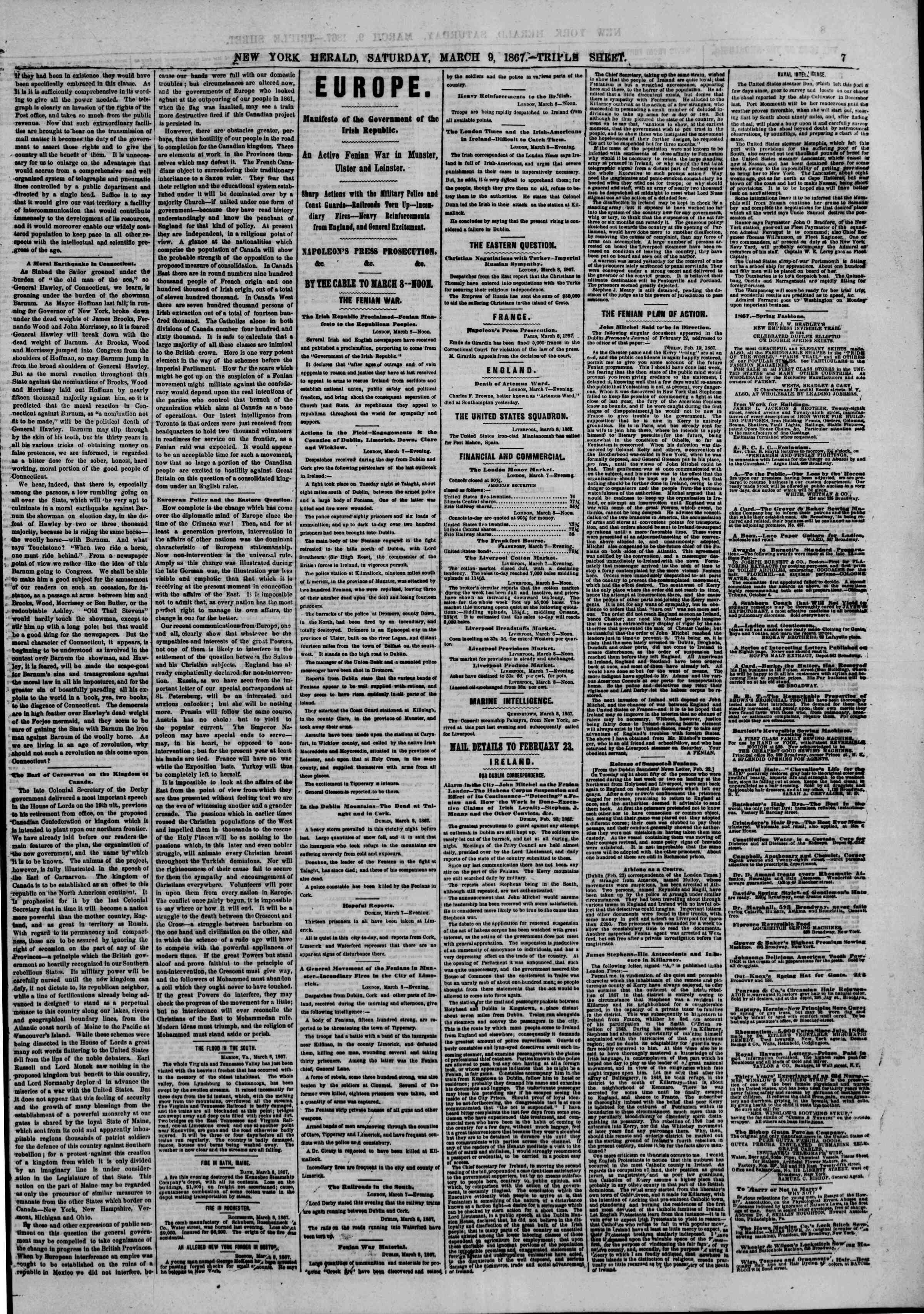 Newspaper of The New York Herald dated March 9, 1867 Page 7