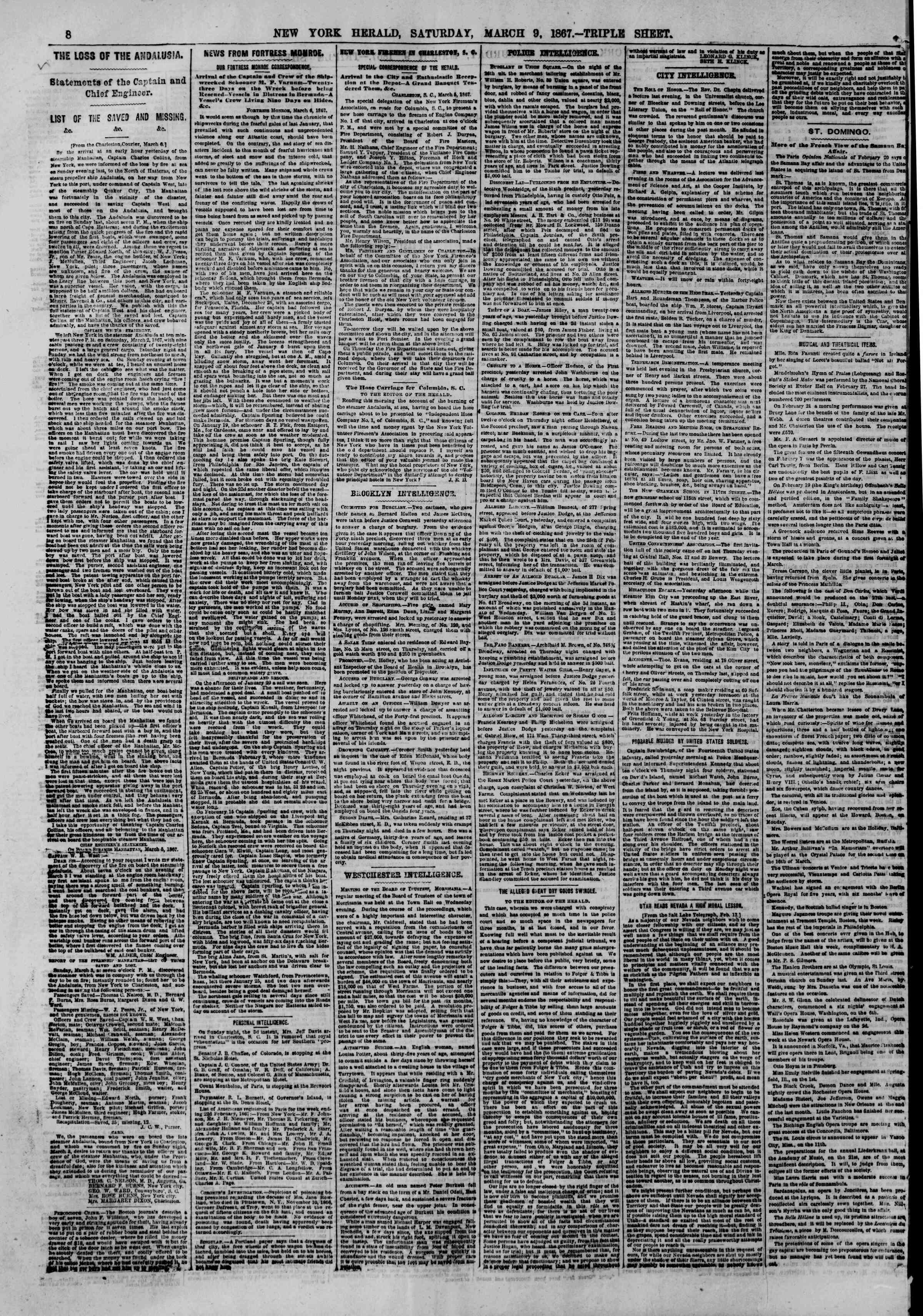 Newspaper of The New York Herald dated March 9, 1867 Page 8