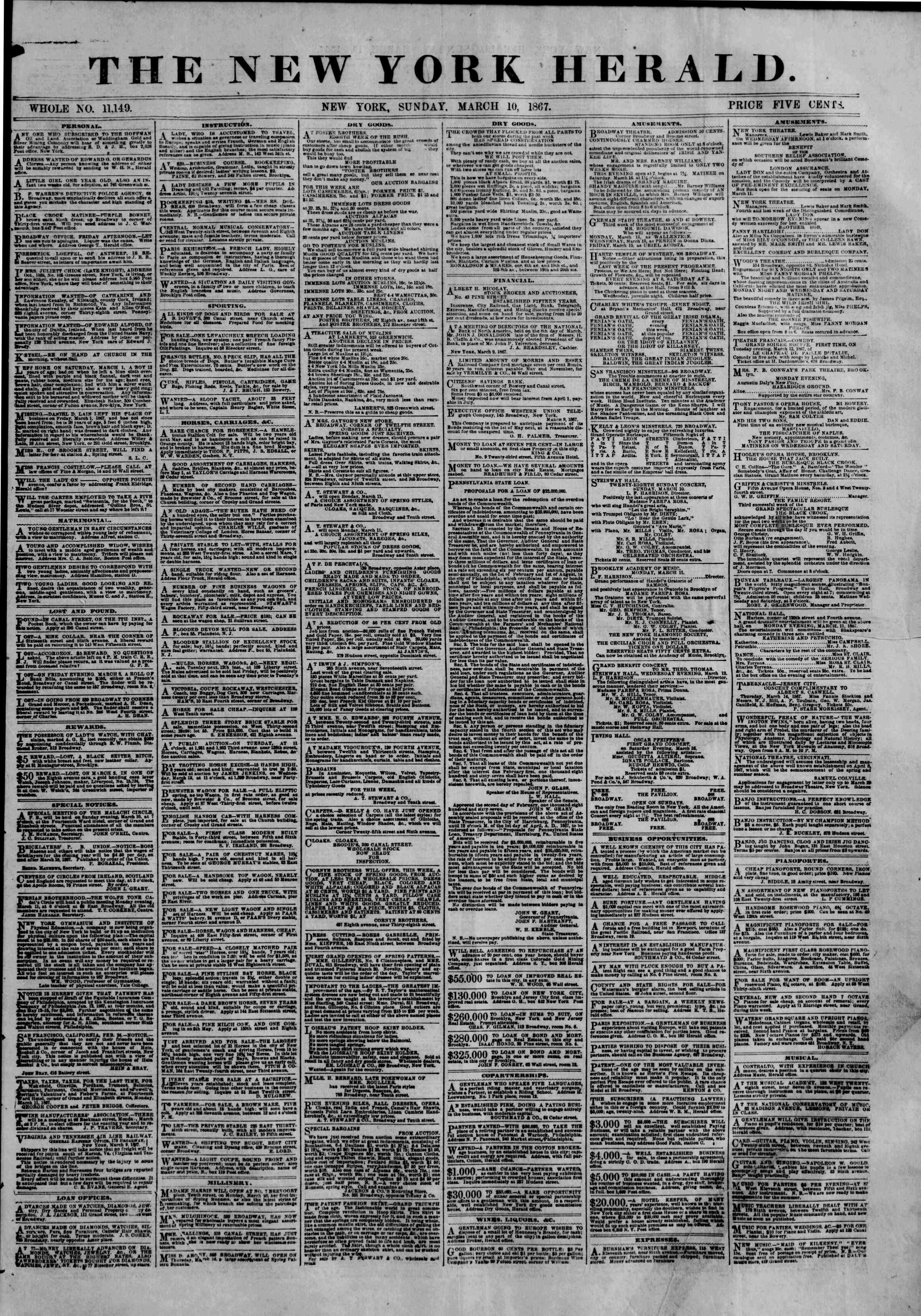 Newspaper of The New York Herald dated March 10, 1867 Page 1