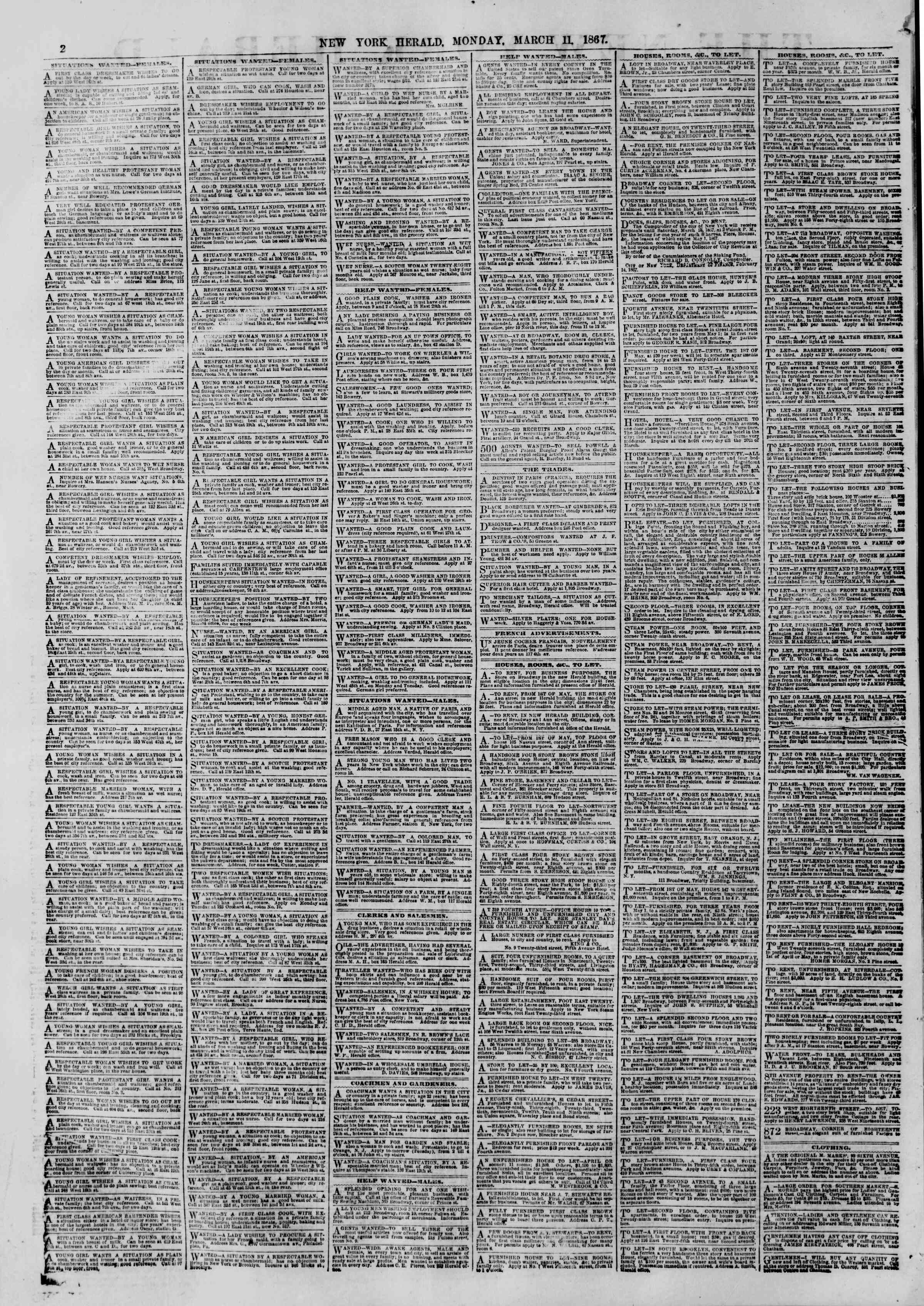 Newspaper of The New York Herald dated March 11, 1867 Page 2