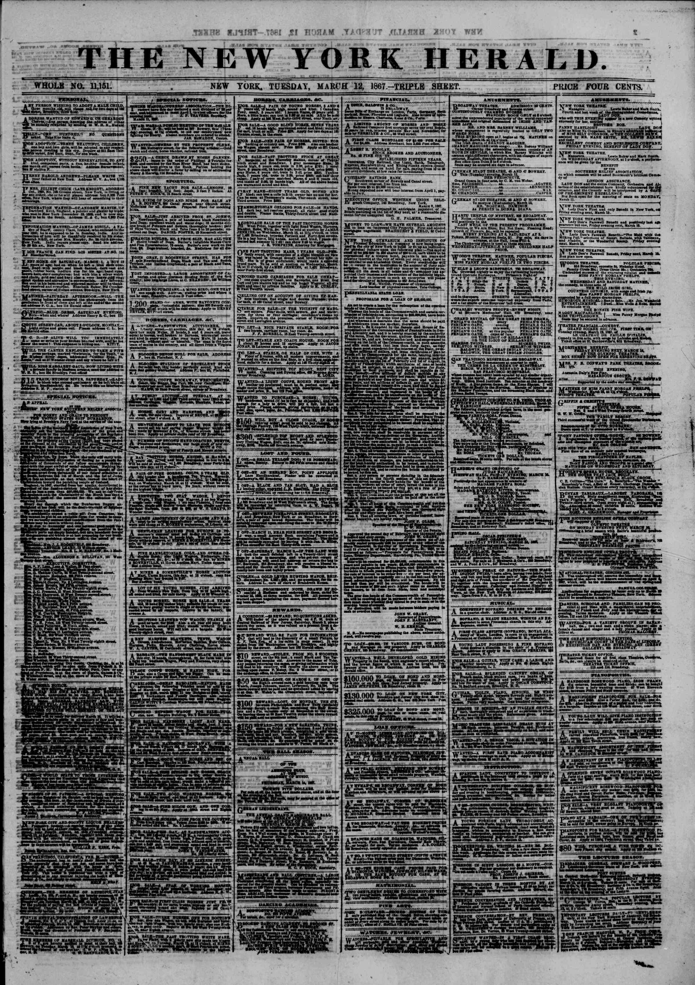Newspaper of The New York Herald dated March 12, 1867 Page 1