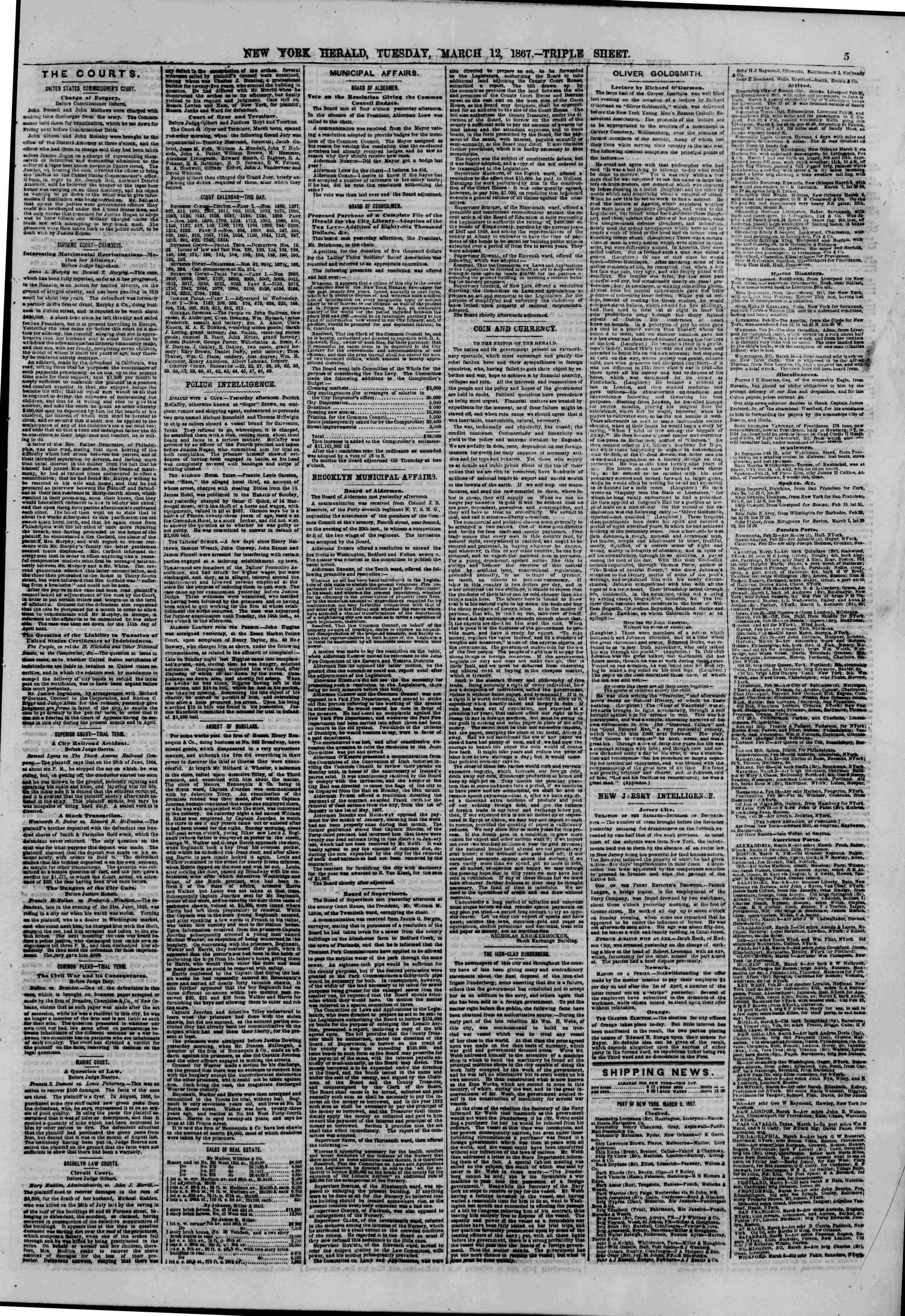 Newspaper of The New York Herald dated March 12, 1867 Page 5