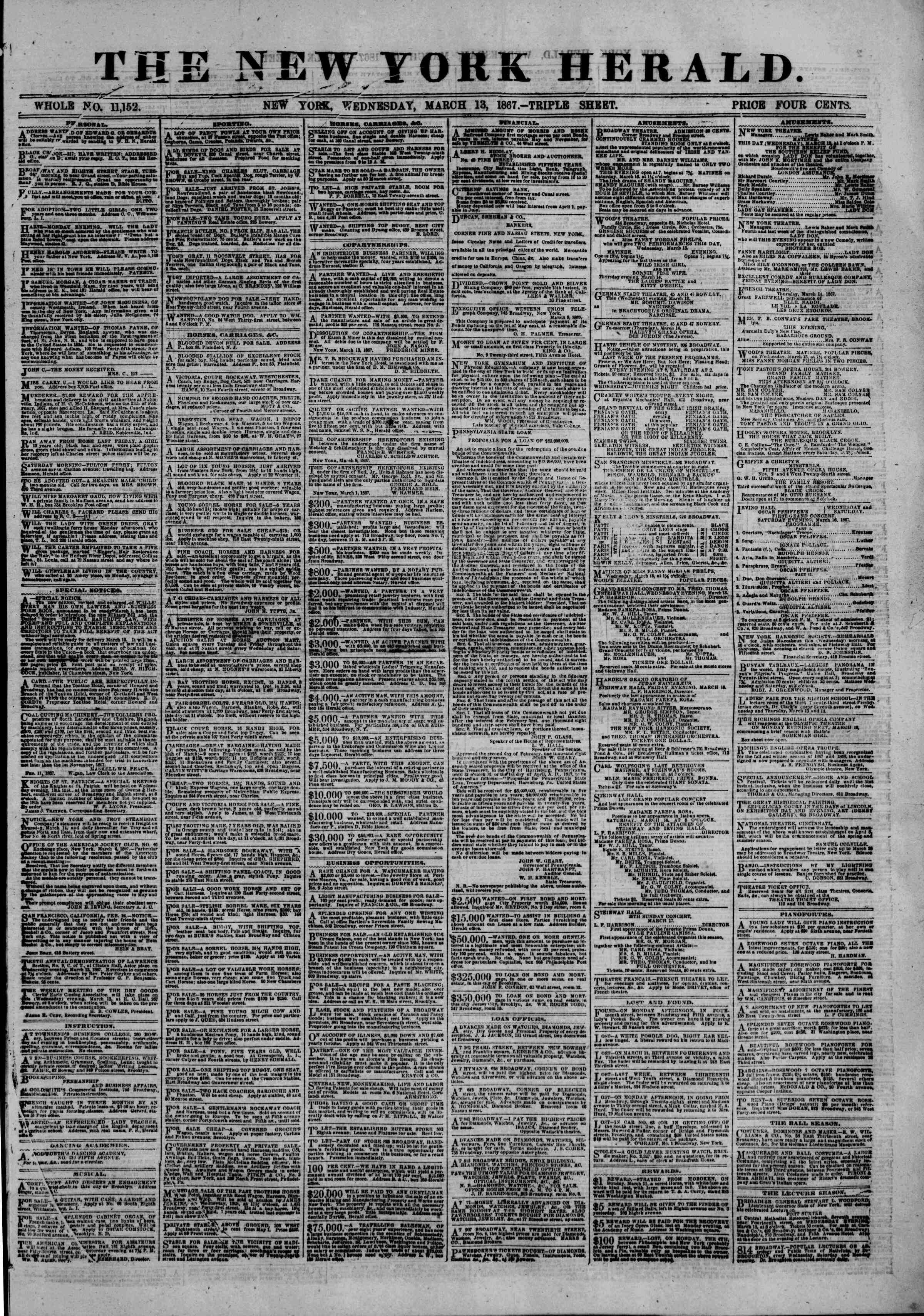 Newspaper of The New York Herald dated 13 Mart 1867 Page 1