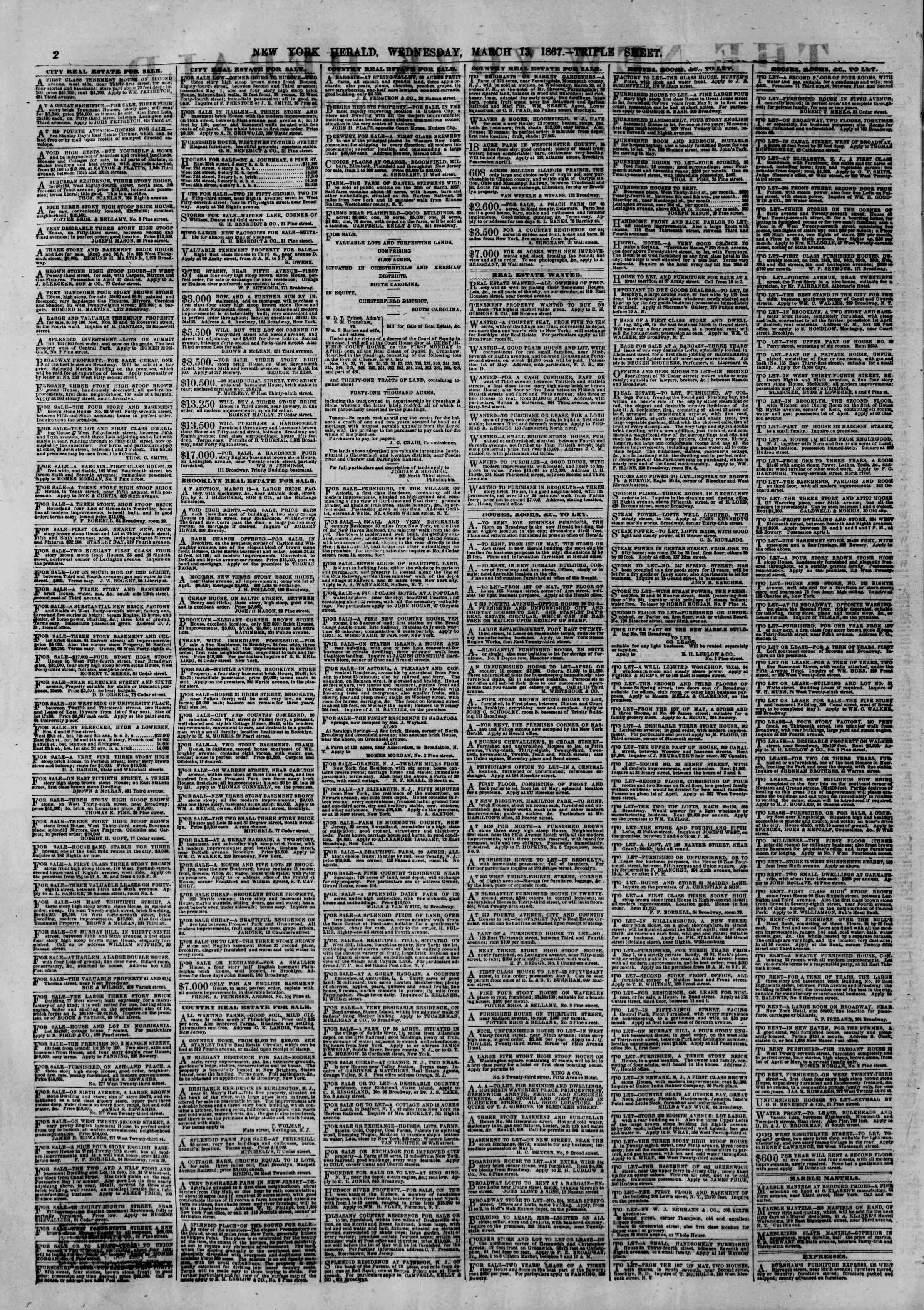 Newspaper of The New York Herald dated March 13, 1867 Page 2