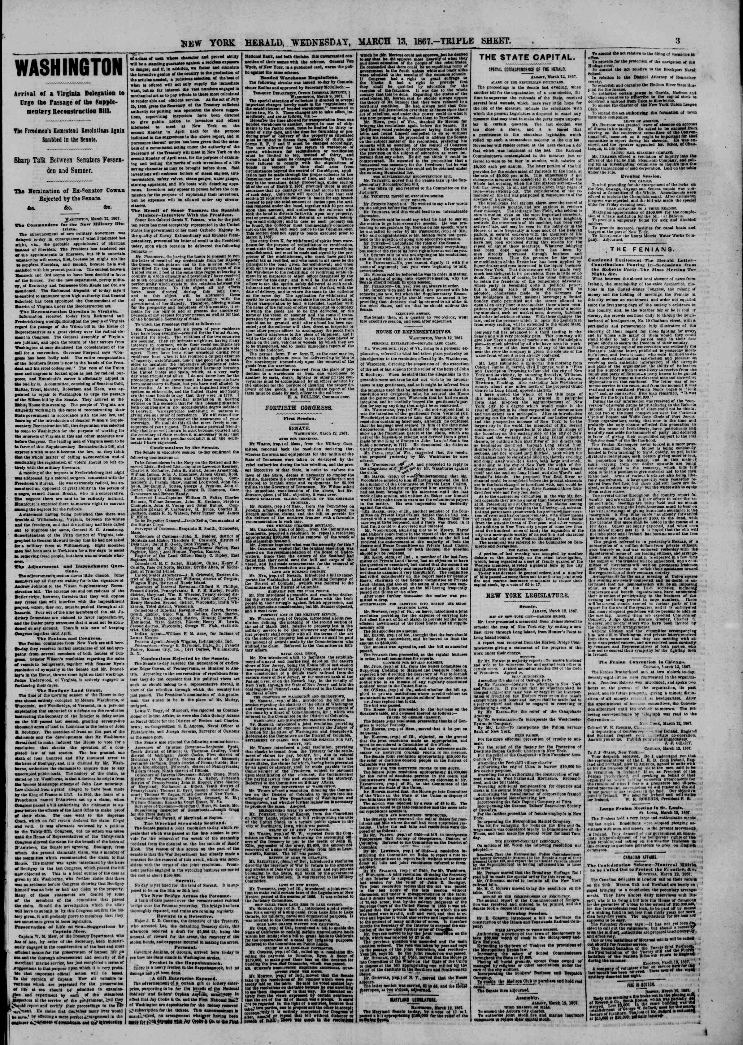 Newspaper of The New York Herald dated March 13, 1867 Page 3