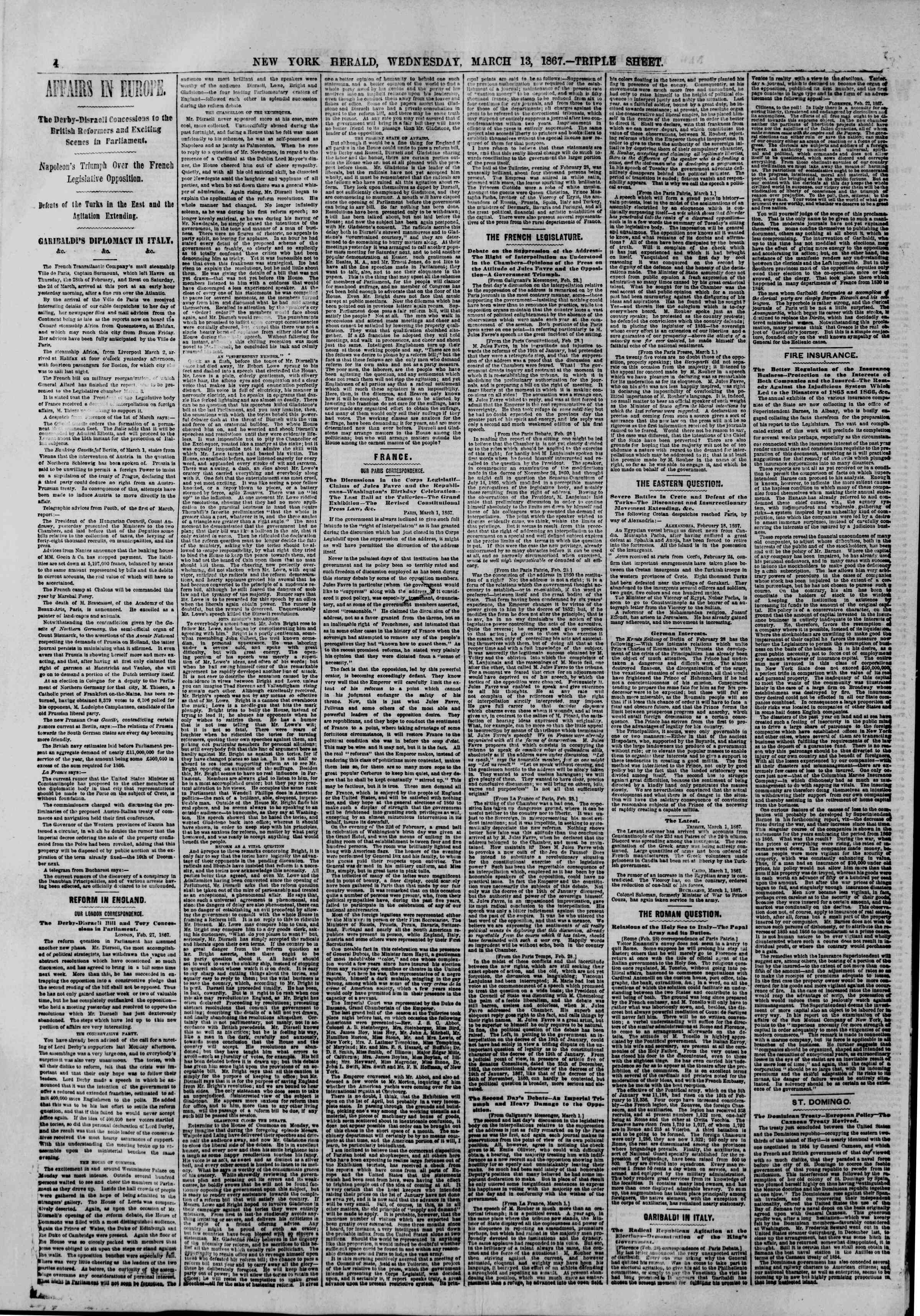 Newspaper of The New York Herald dated March 13, 1867 Page 4