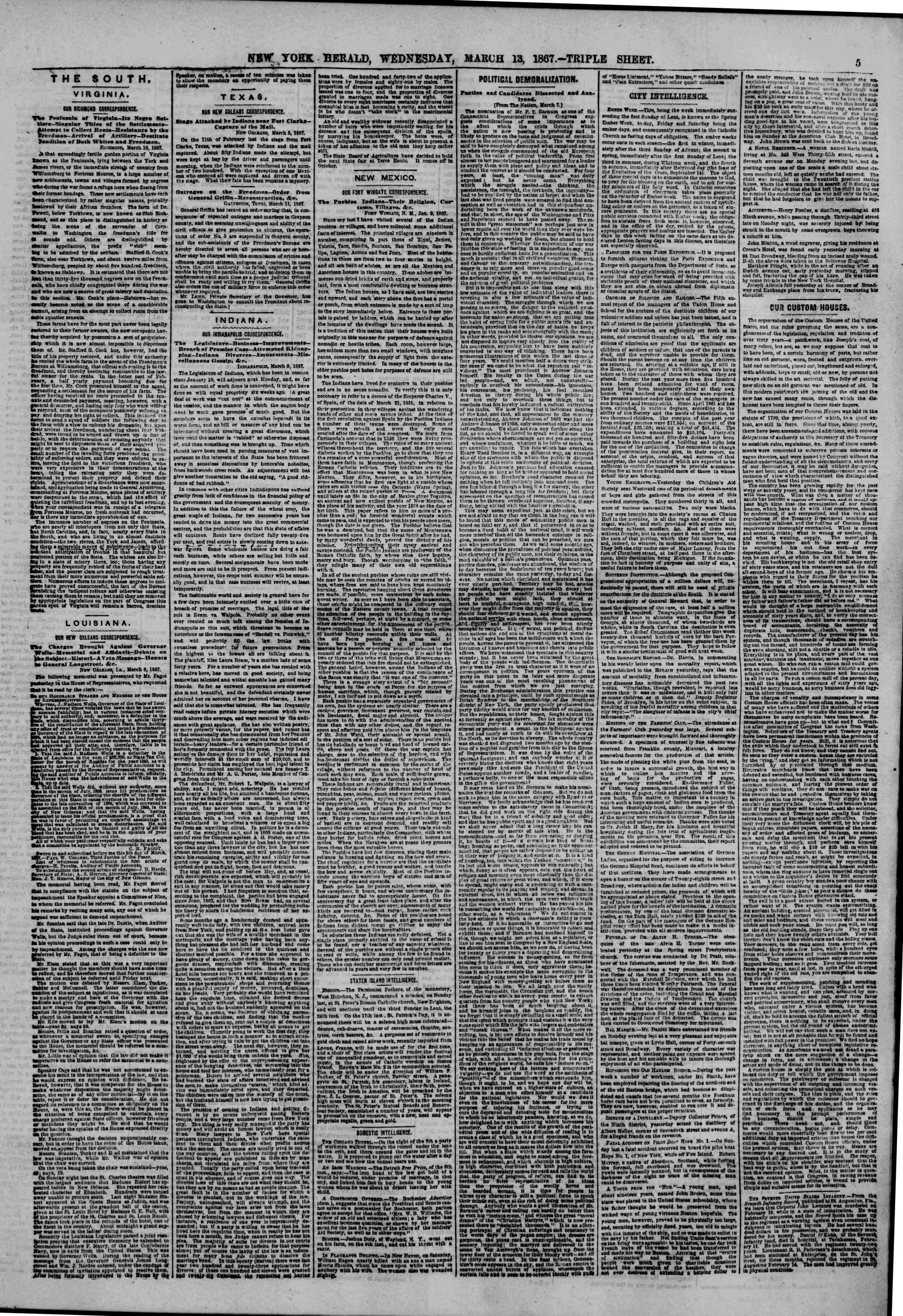 Newspaper of The New York Herald dated March 13, 1867 Page 5