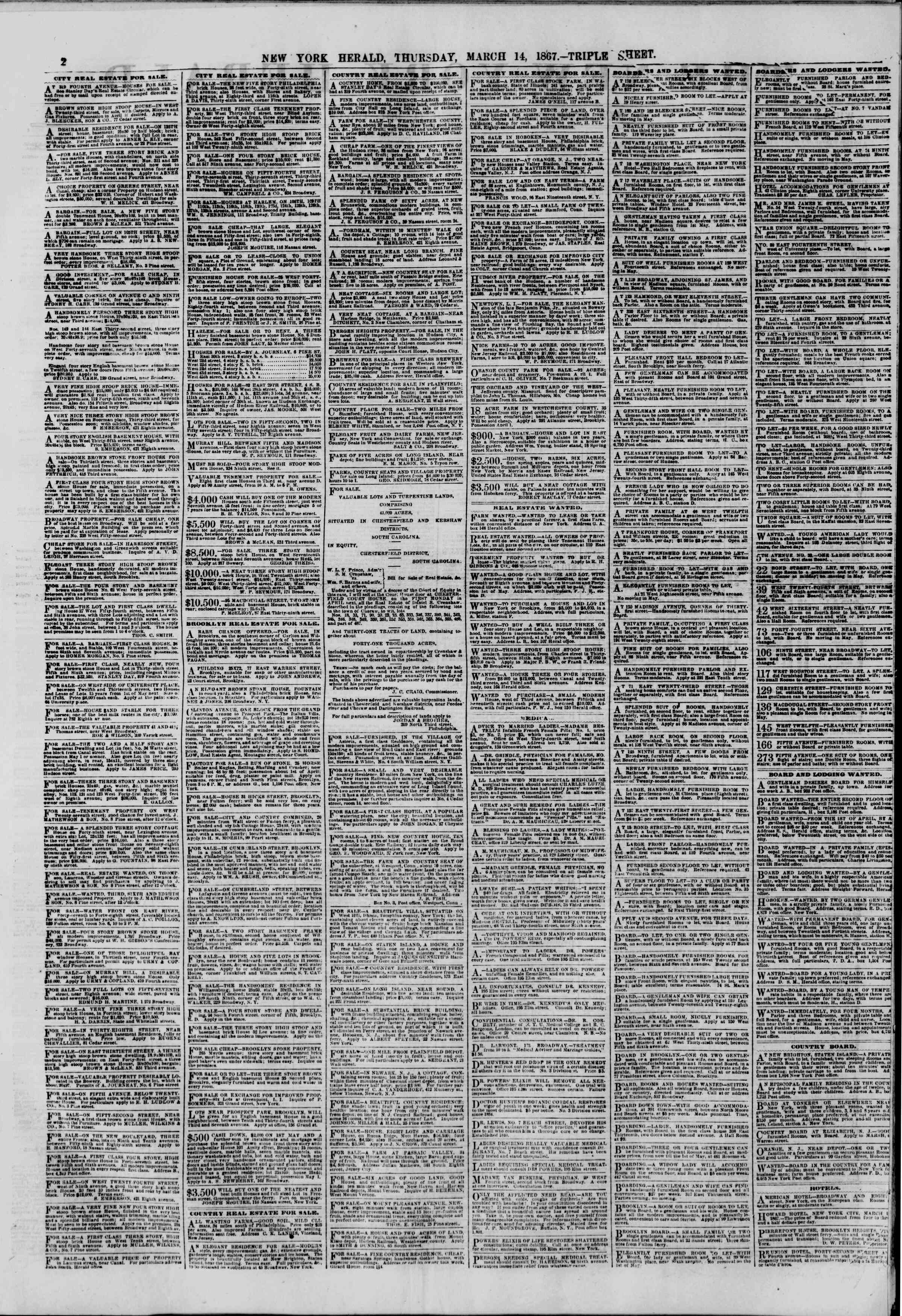 Newspaper of The New York Herald dated March 14, 1867 Page 2