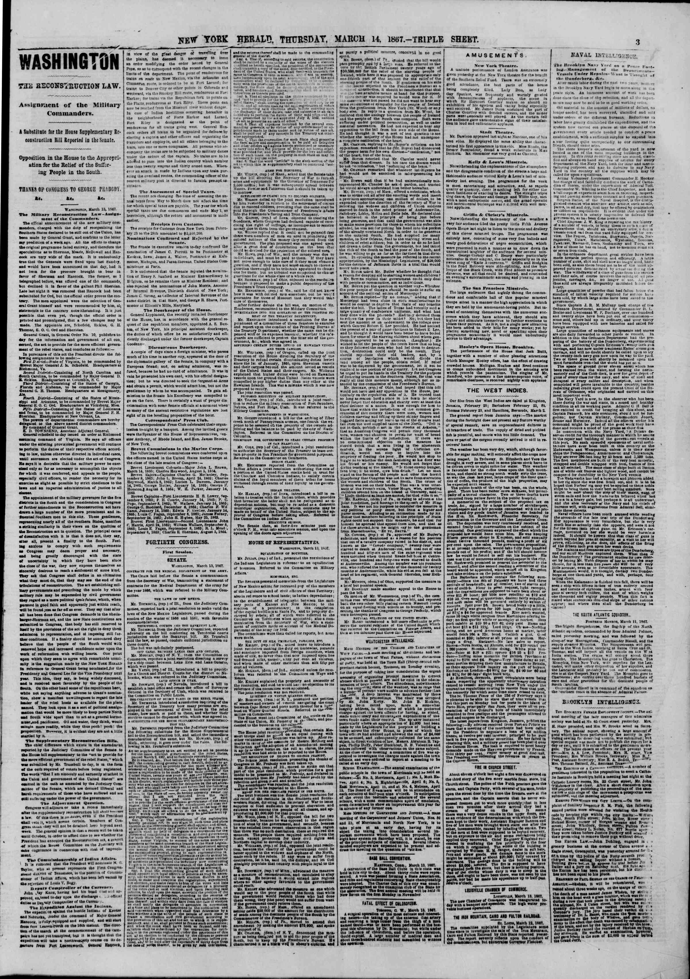 Newspaper of The New York Herald dated March 14, 1867 Page 3