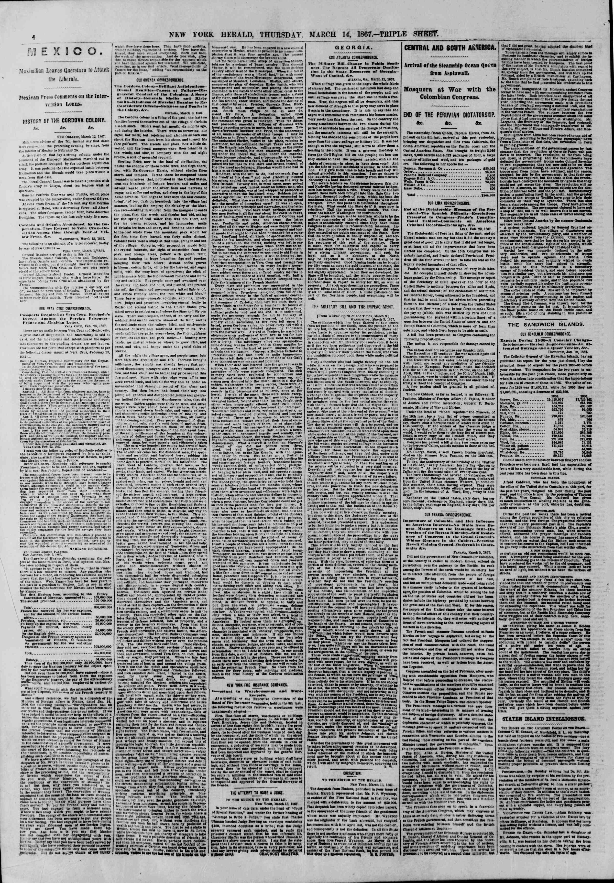 Newspaper of The New York Herald dated March 14, 1867 Page 4