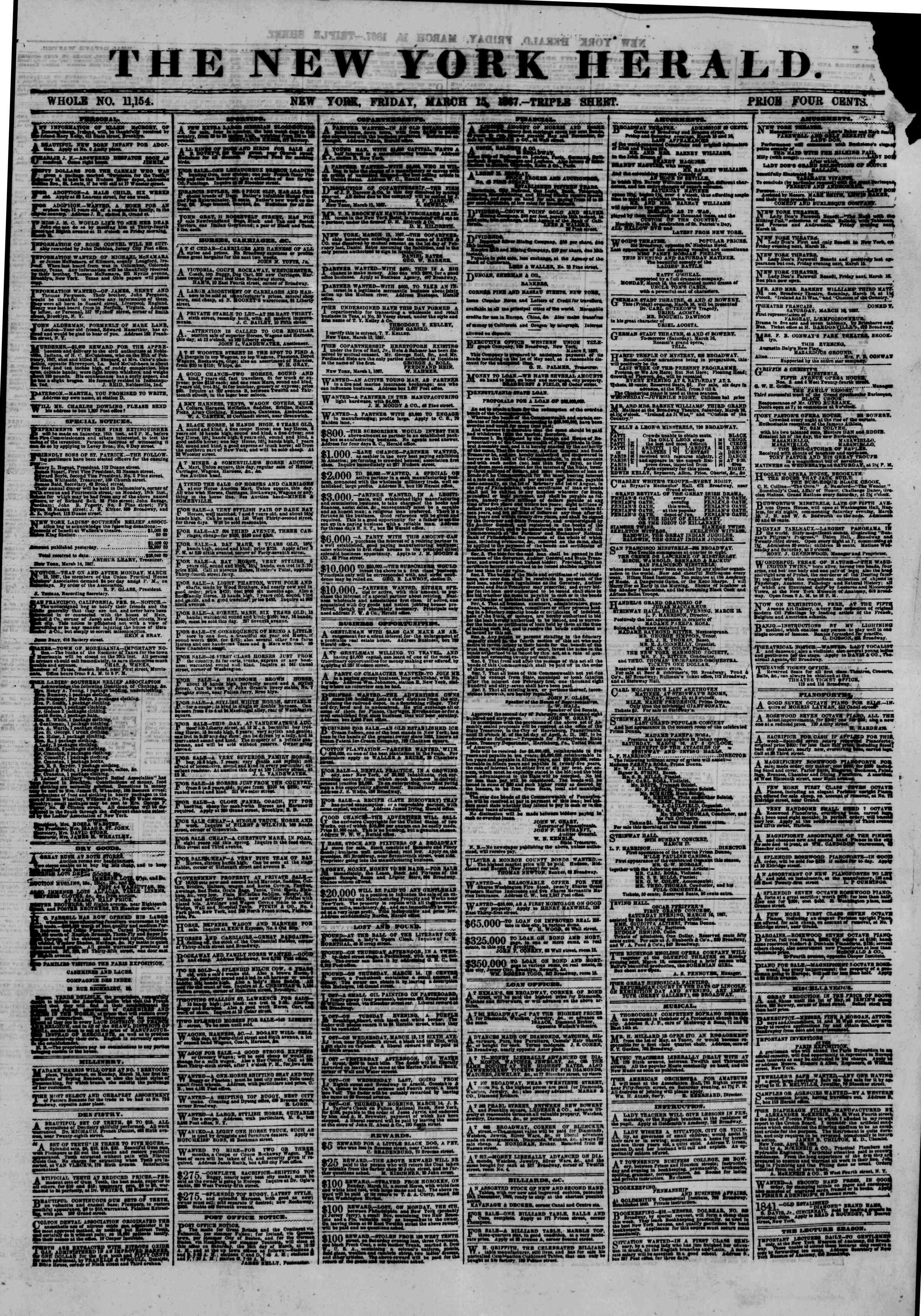 Newspaper of The New York Herald dated March 15, 1867 Page 1